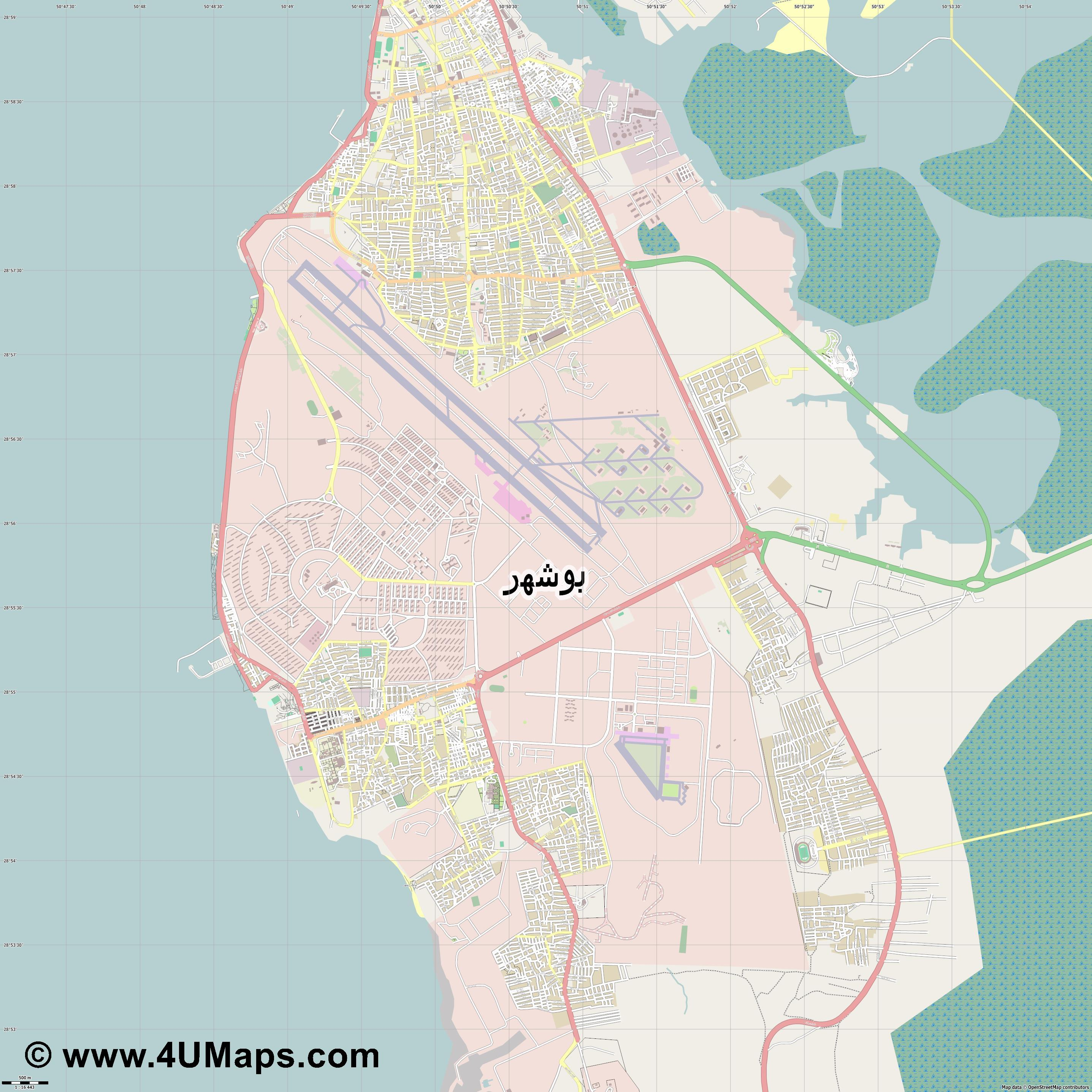 بوشهر Bushehr Bouchehr Buschehr  jpg ultra high detail preview vector city map