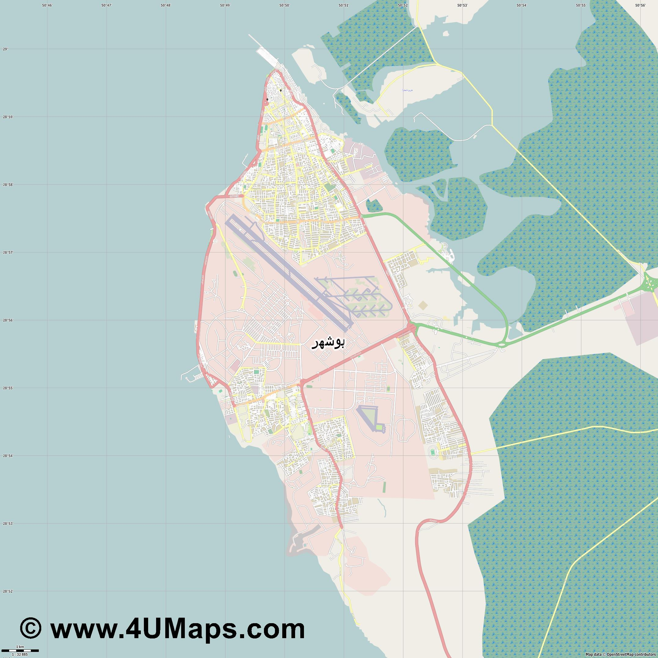 بوشهر Bushehr Bouchehr Buschehr  jpg high detail, large area preview vector city map