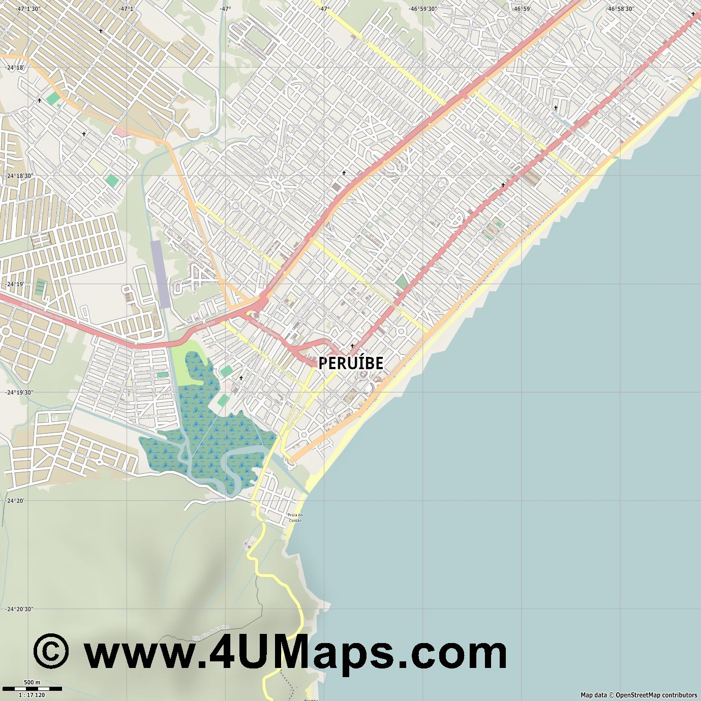 Peruíbe  jpg ultra high detail preview vector city map