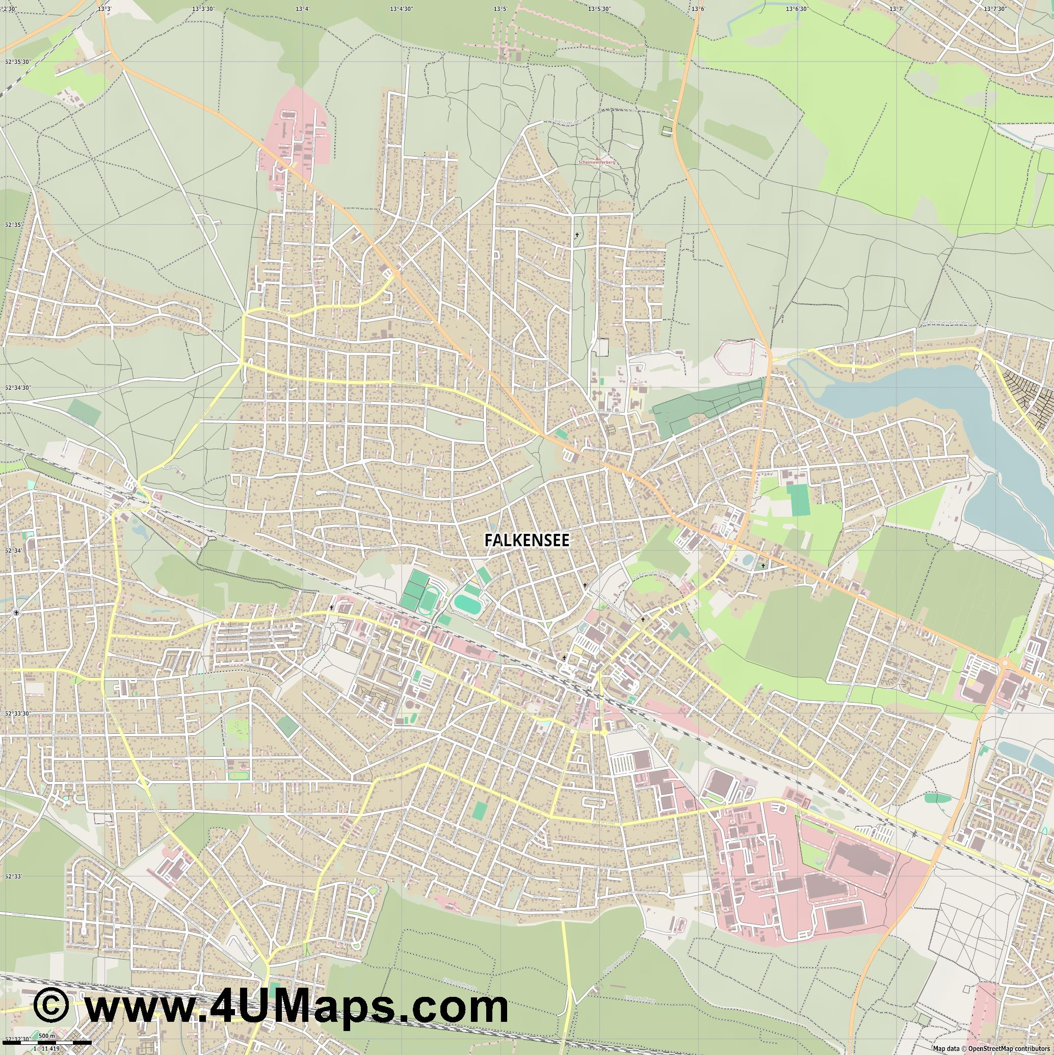 Falkensee  jpg ultra high detail preview vector city map