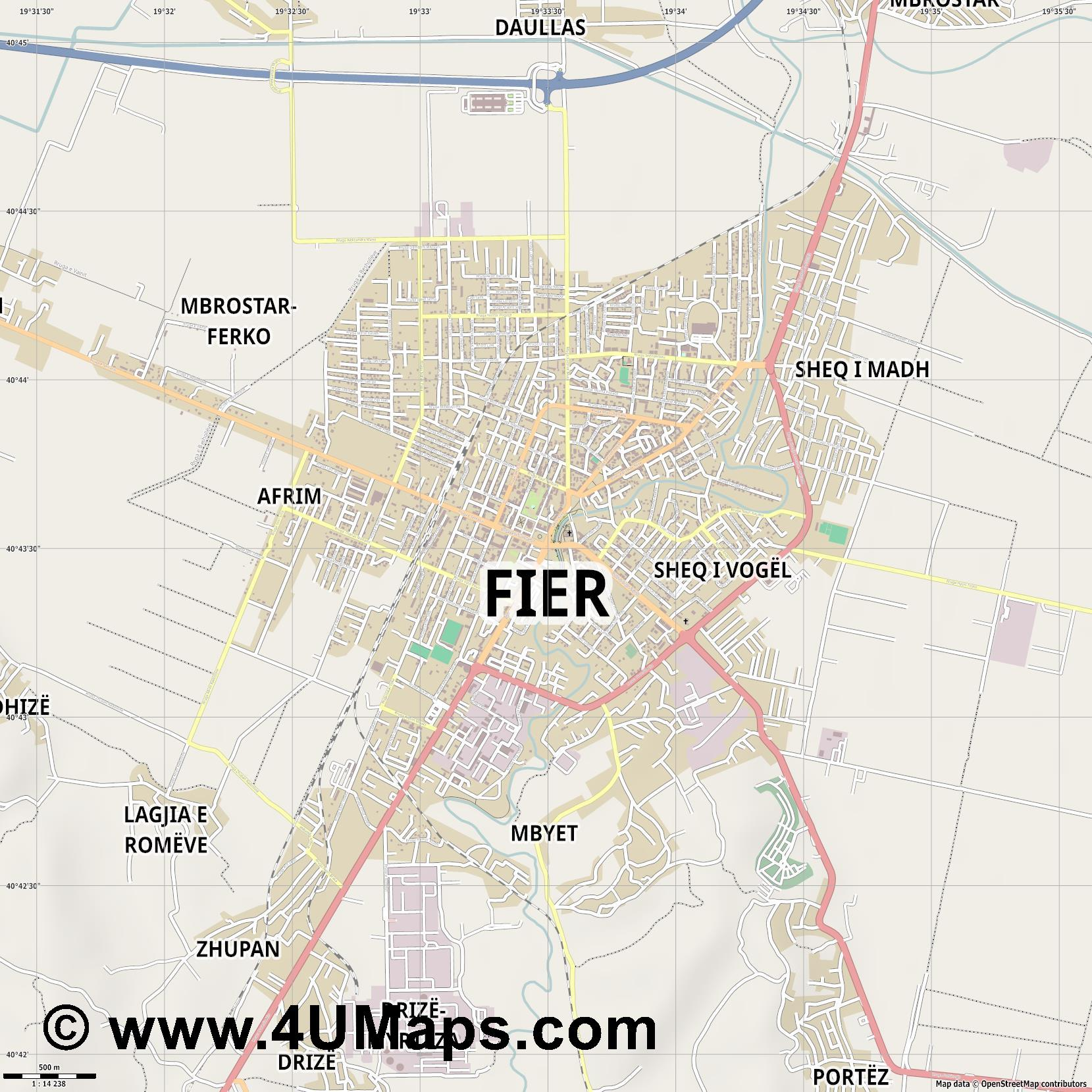 Fier  jpg ultra high detail preview vector city map