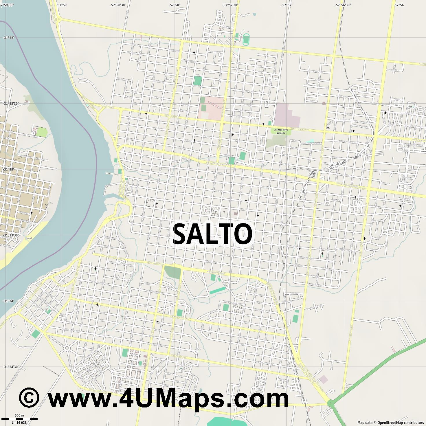 Salto  jpg ultra high detail preview vector city map