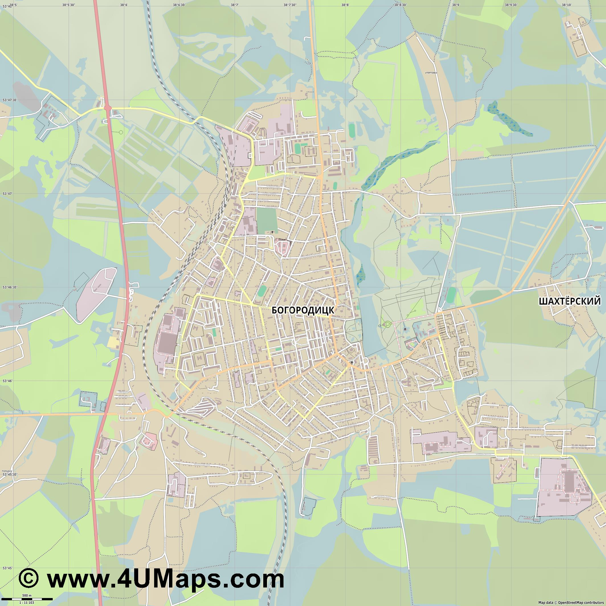 Богородицк Bogoroditsk Bogorodick Bogorodizk  jpg ultra high detail preview vector city map