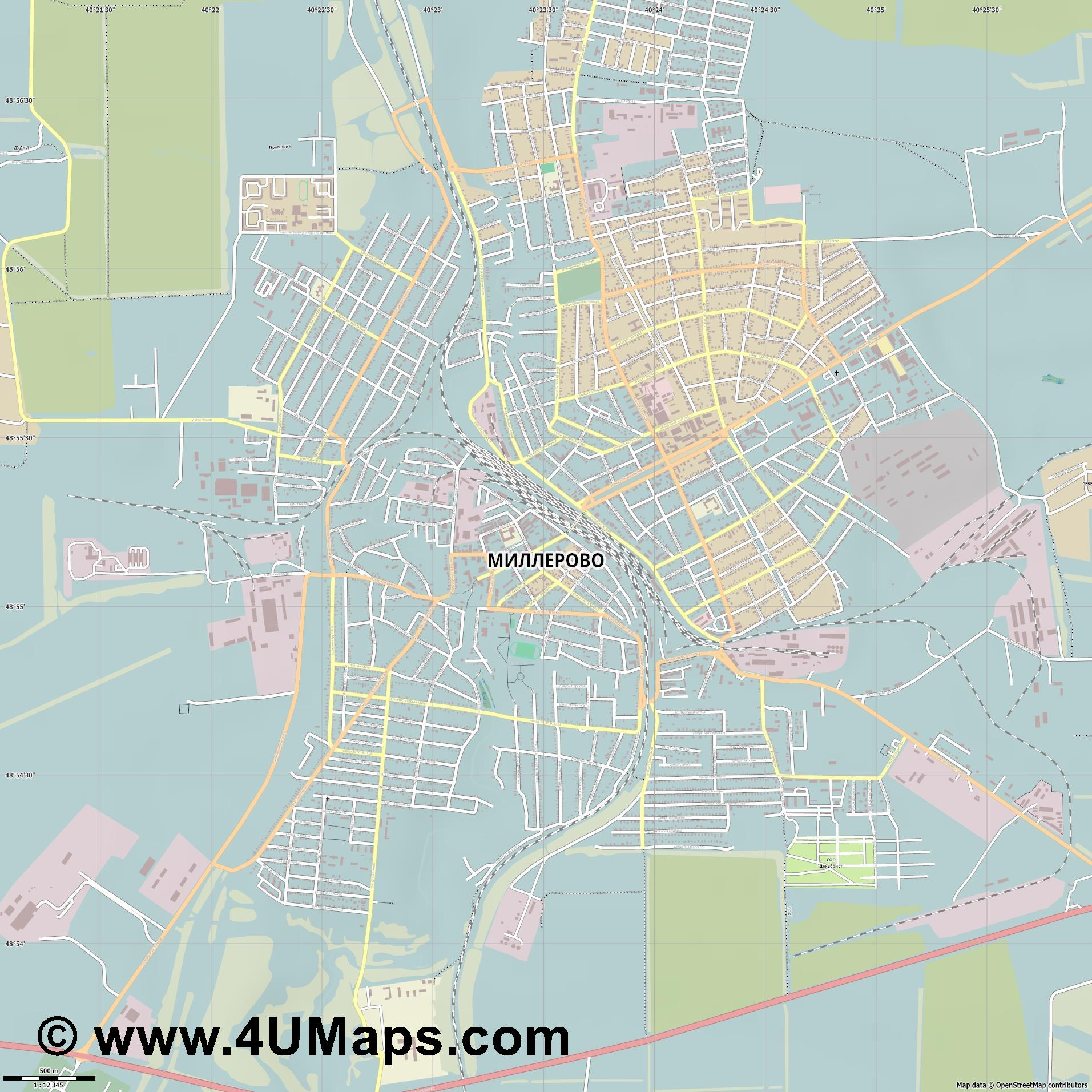 Миллерово Millerovo Millerowo  jpg ultra high detail preview vector city map