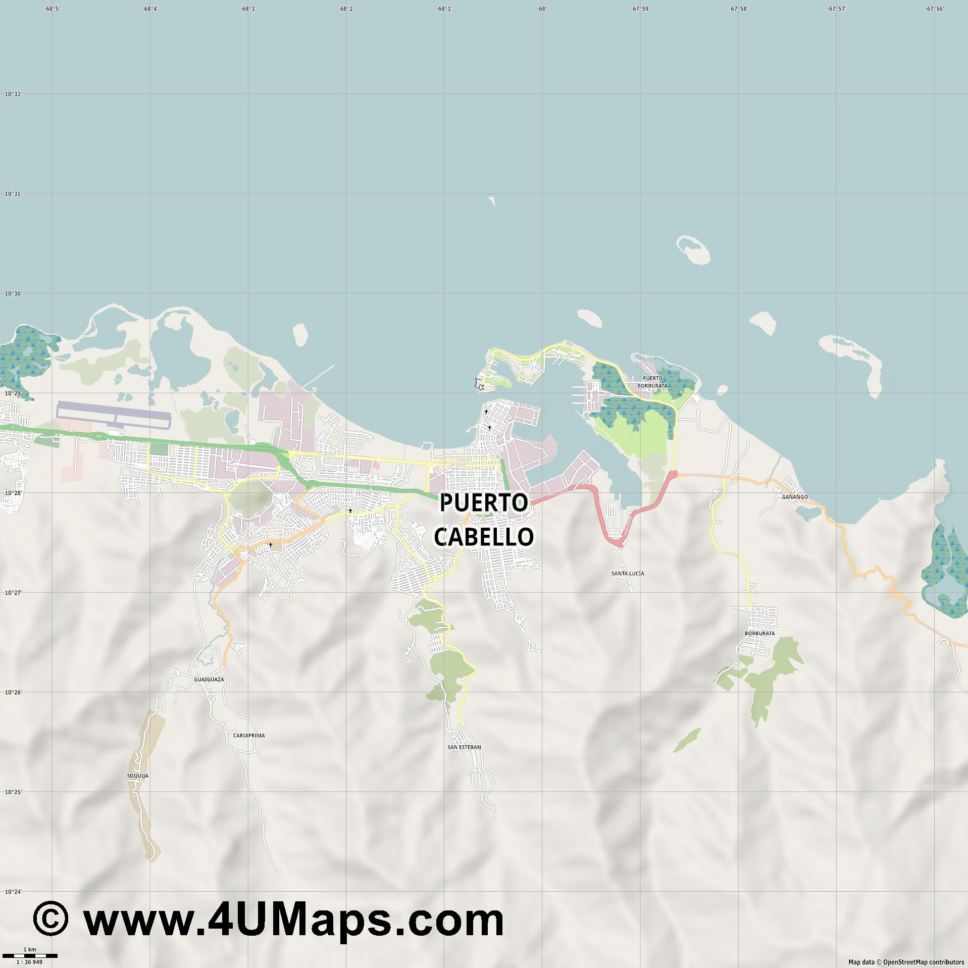 Puerto Cabello  jpg high detail, large area preview vector city map