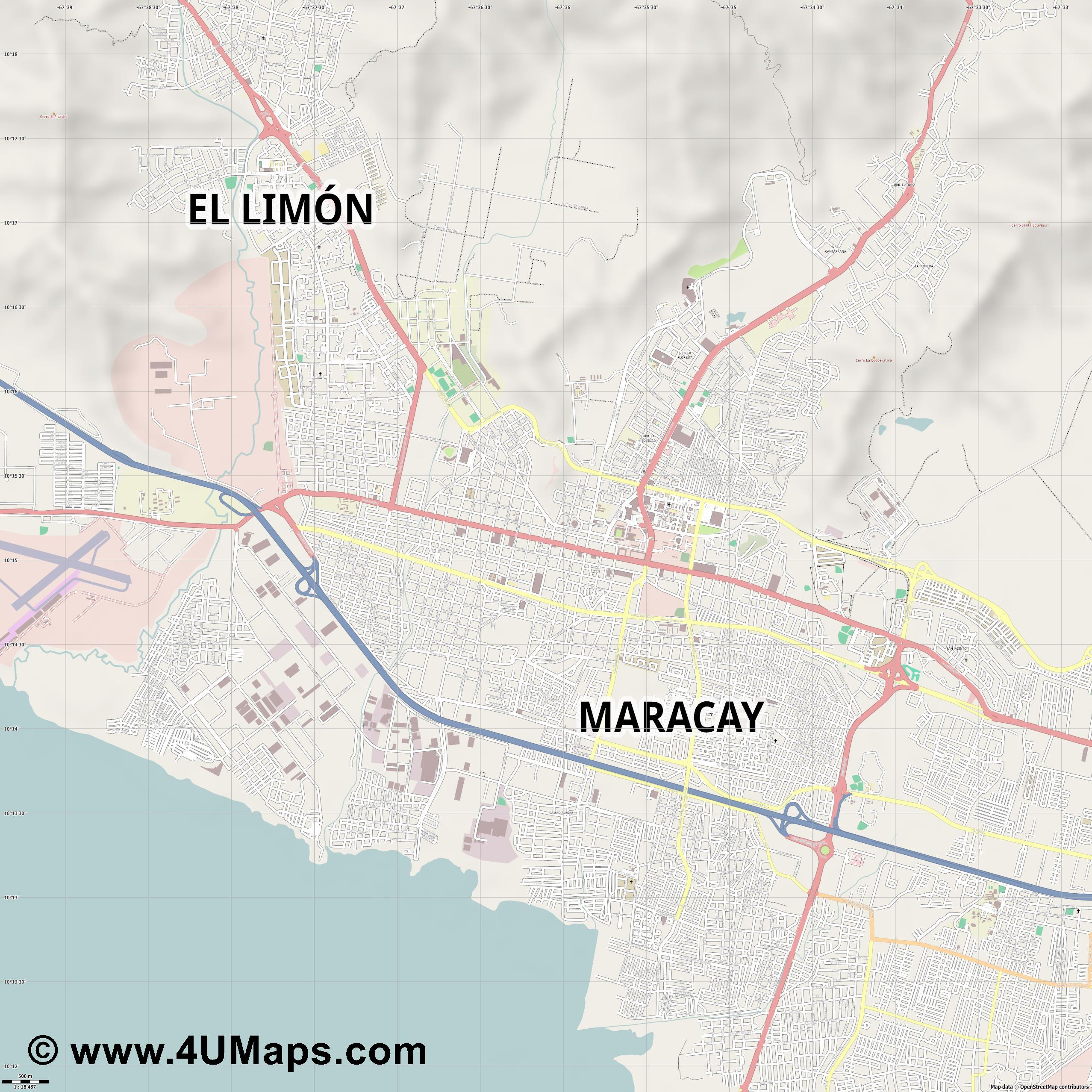 Maracay  jpg ultra high detail preview vector city map