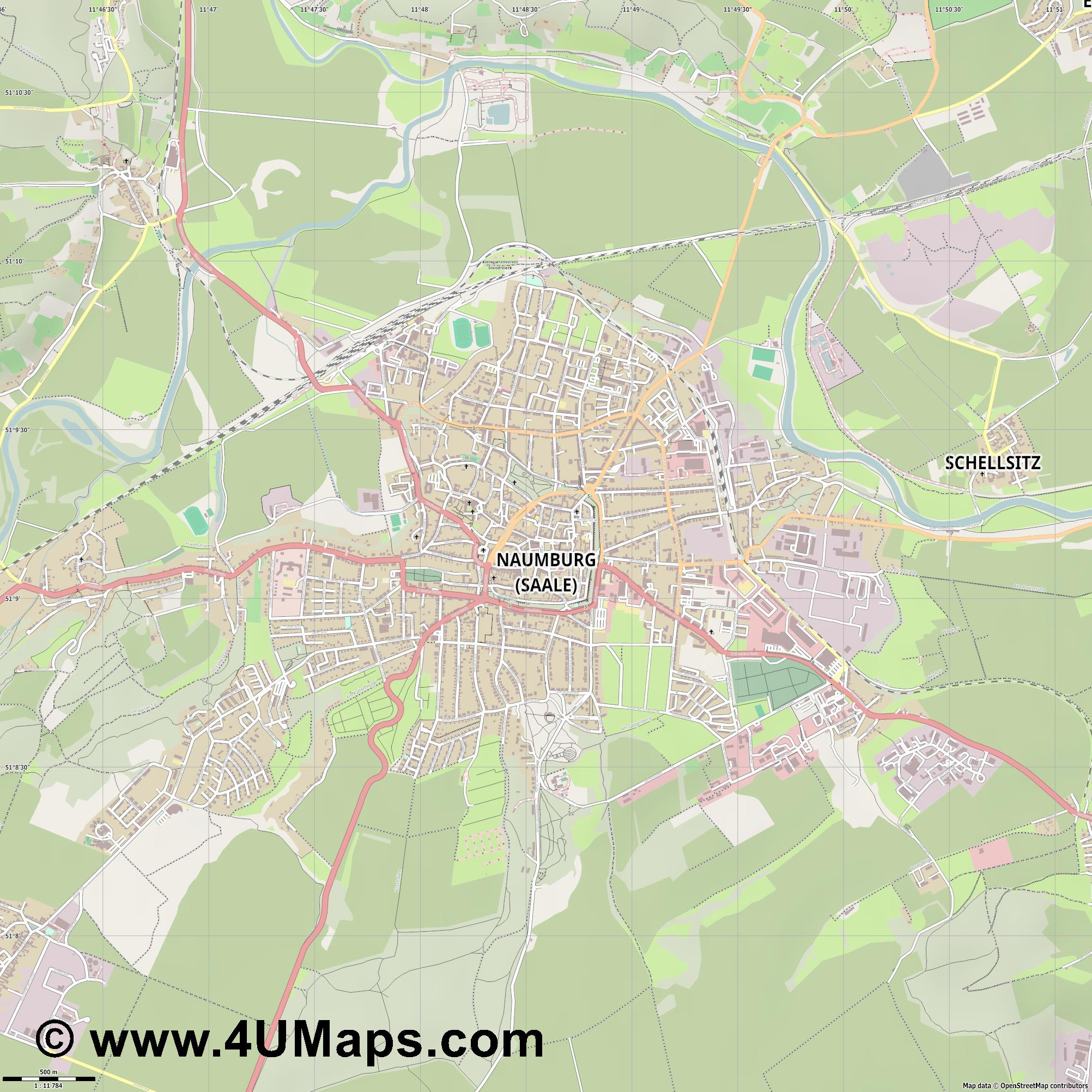 Naumburg  Saale   jpg ultra high detail preview vector city map