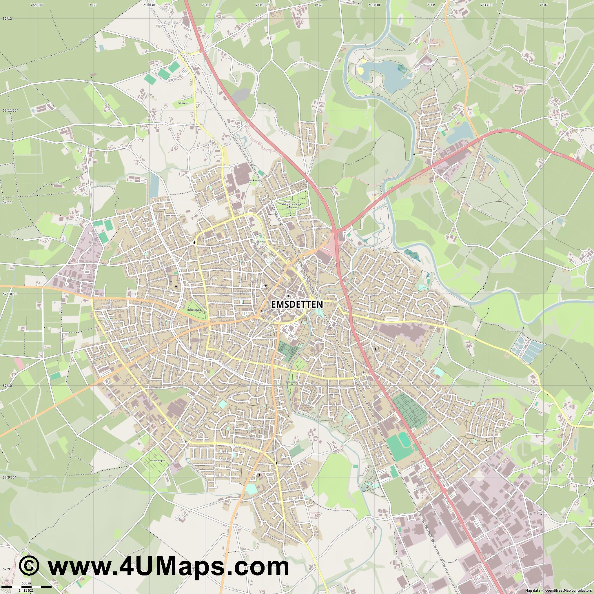 Emsdetten  jpg ultra high detail preview vector city map