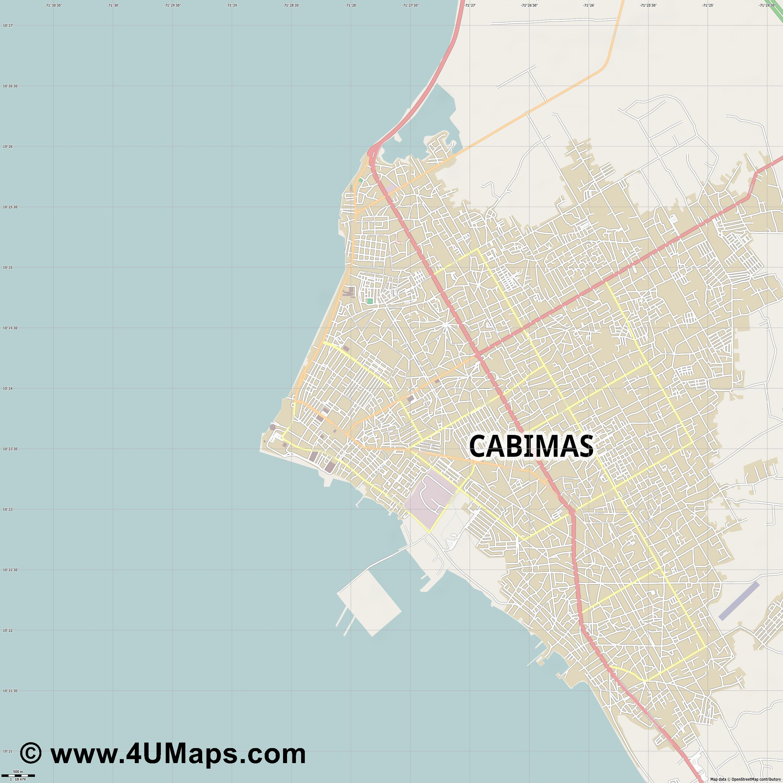 Cabimas  jpg ultra high detail preview vector city map