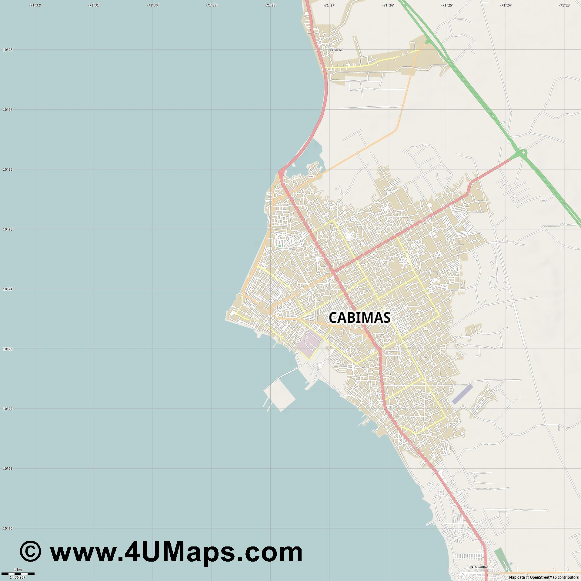 Cabimas  jpg high detail, large area preview vector city map
