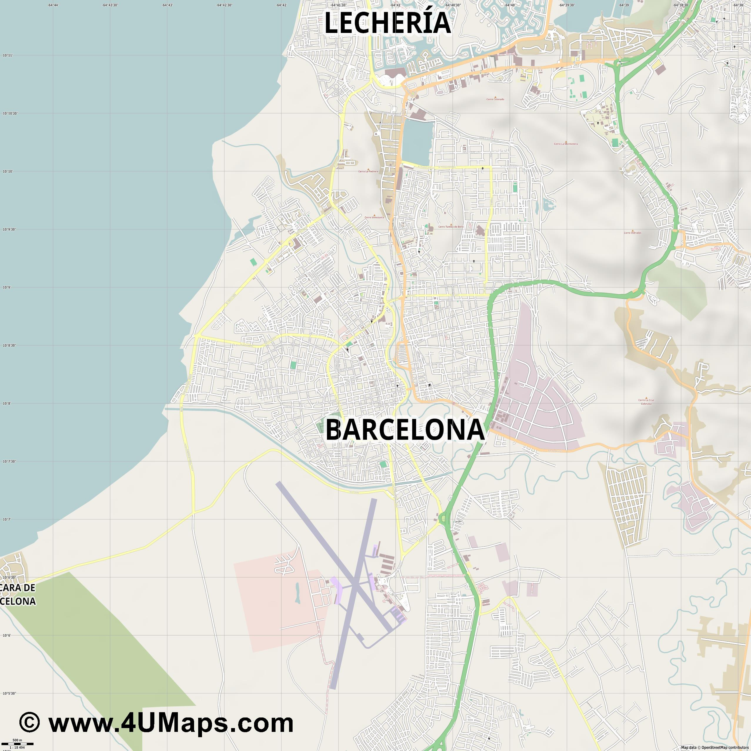 Barcelona  jpg ultra high detail preview vector city map