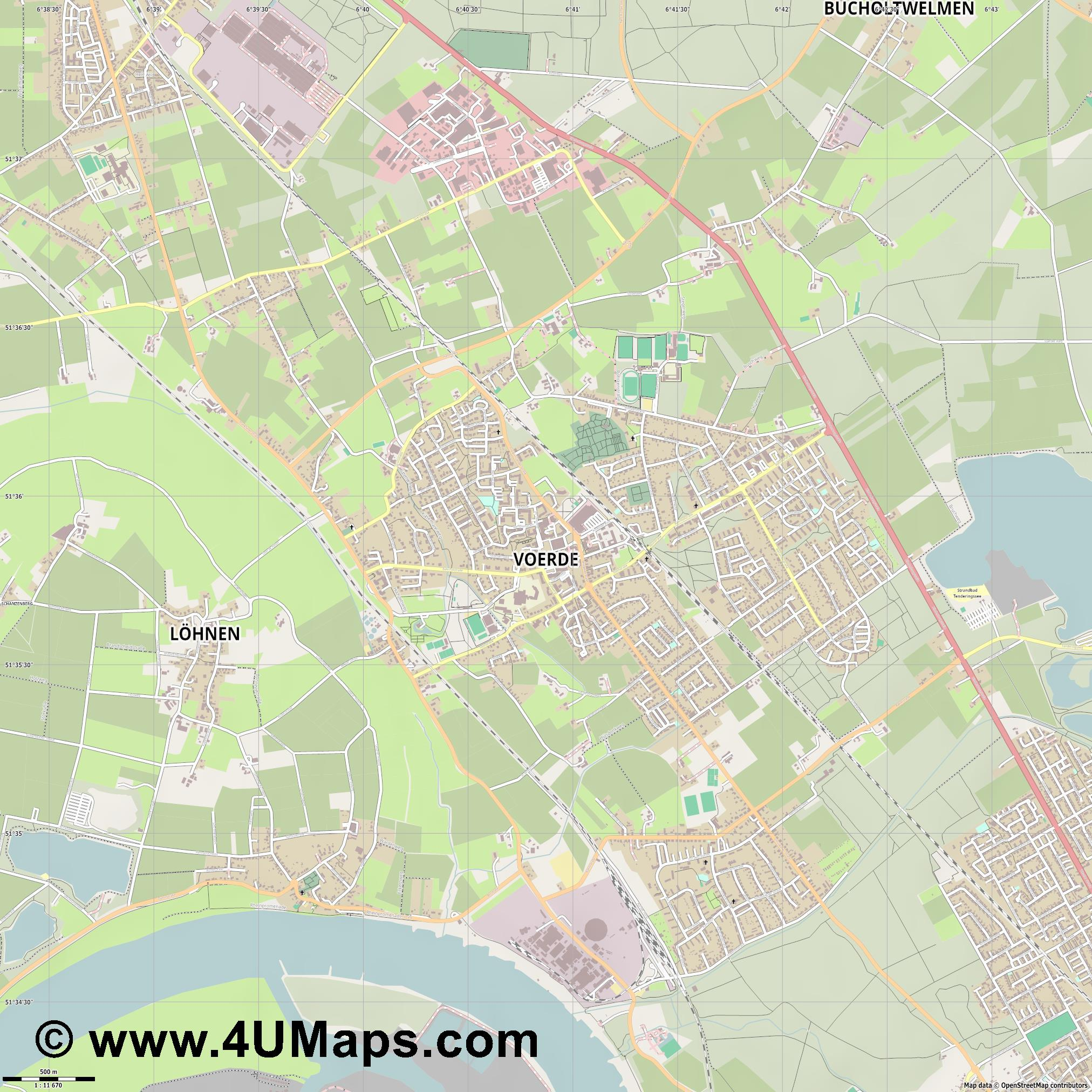 Voerde  jpg ultra high detail preview vector city map