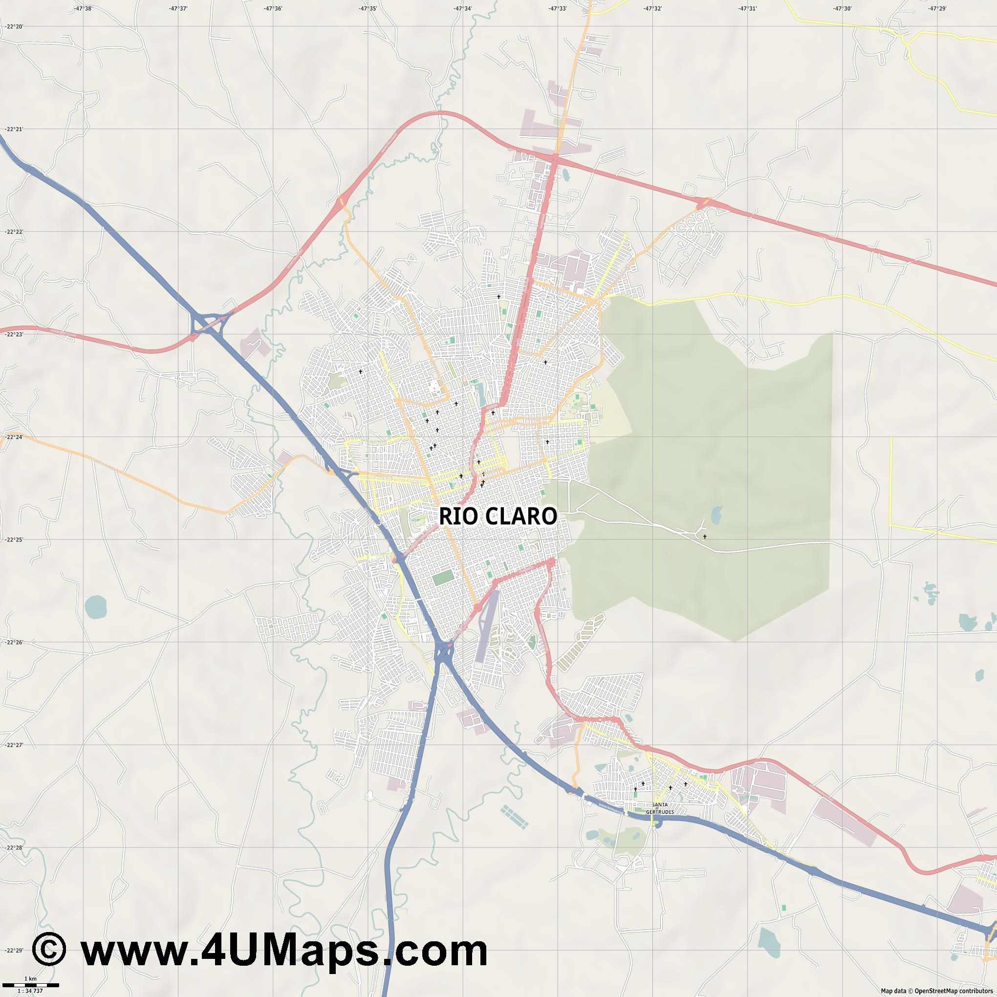 Rio Claro  jpg high detail, large area preview vector city map