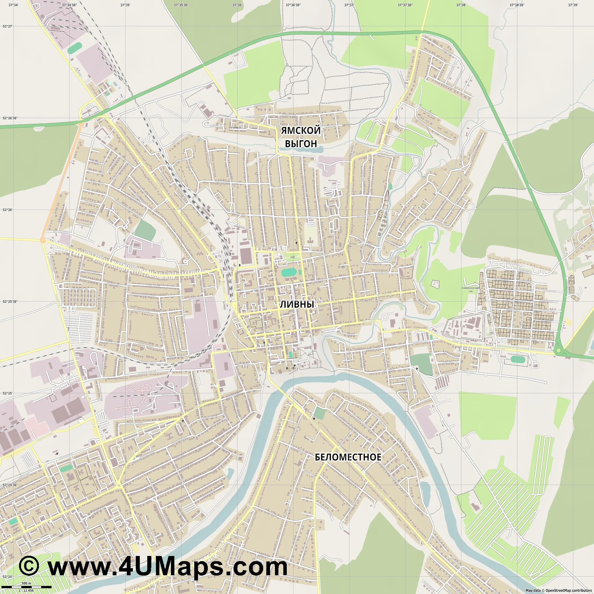 Ливны Livny Liwny  jpg ultra high detail preview vector city map
