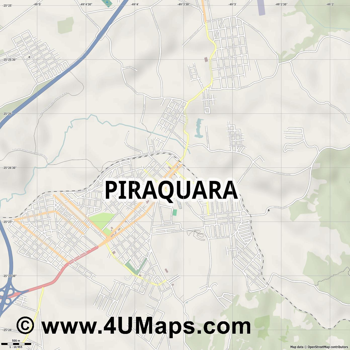 Piraquara  jpg ultra high detail preview vector city map