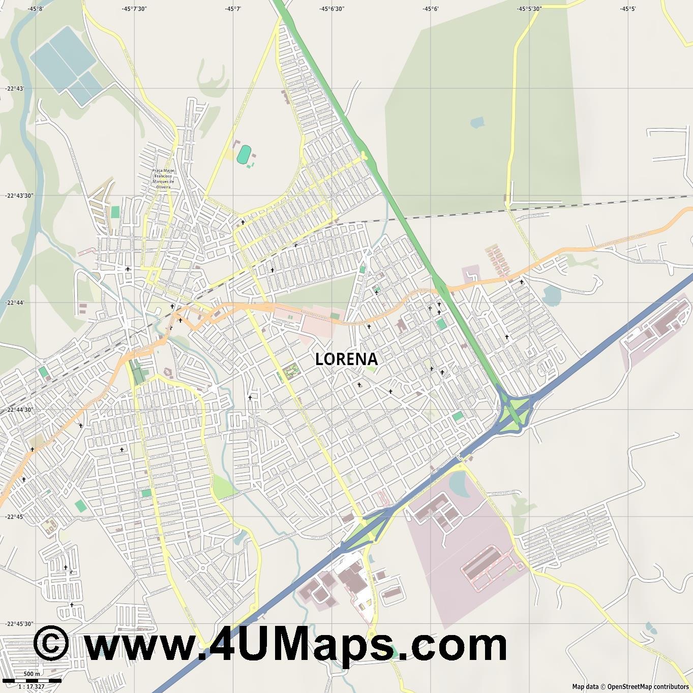 Lorena  jpg ultra high detail preview vector city map