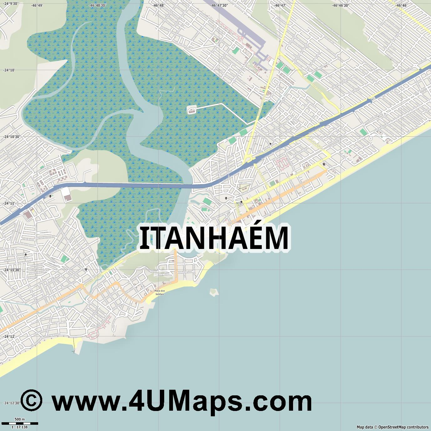 Itanhaém Itanhaem  jpg ultra high detail preview vector city map