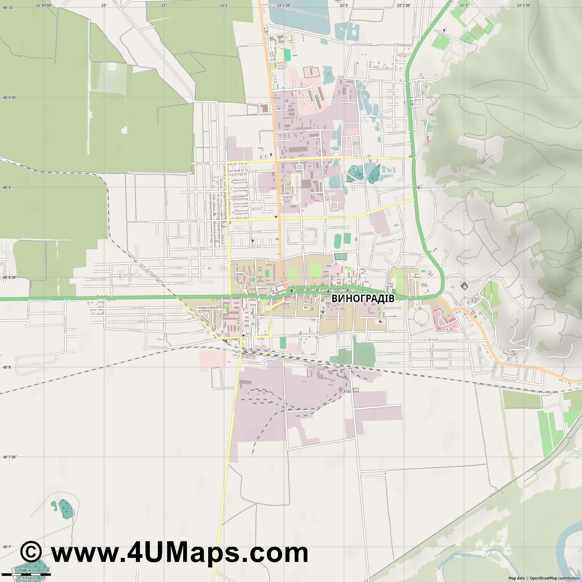 Виноградів Vynohradiv Wynohradiw  jpg ultra high detail preview vector city map