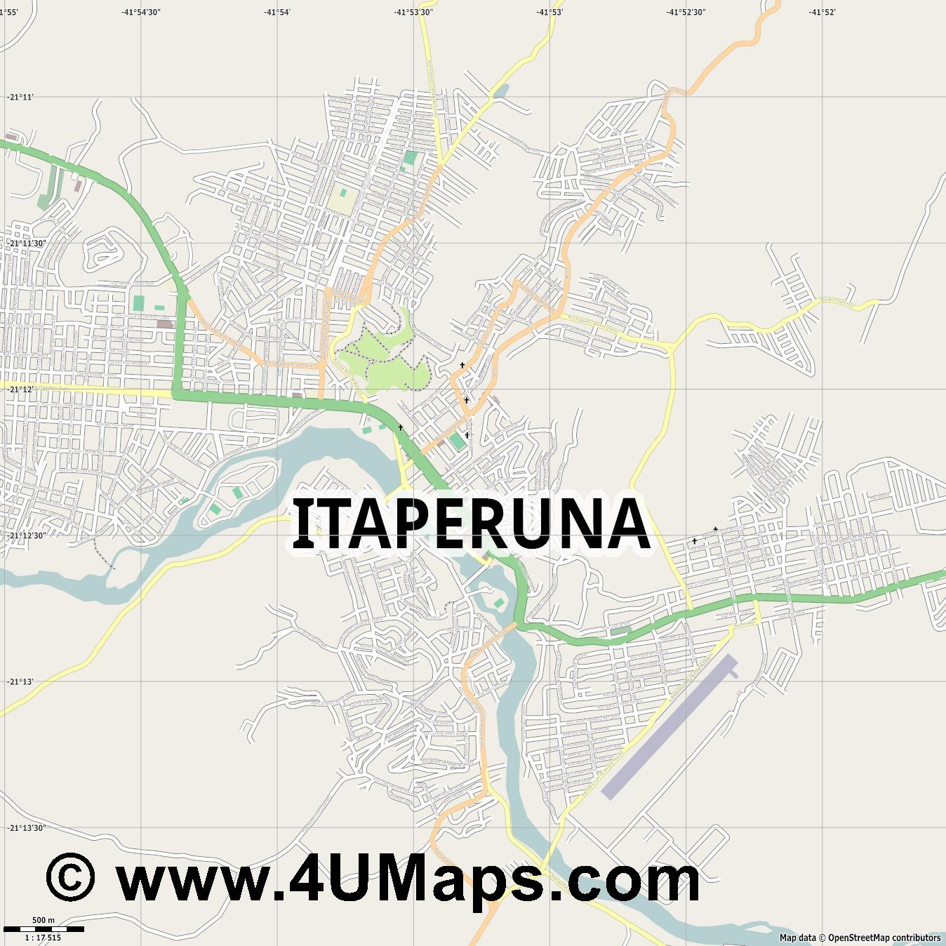 Itaperuna  jpg ultra high detail preview vector city map