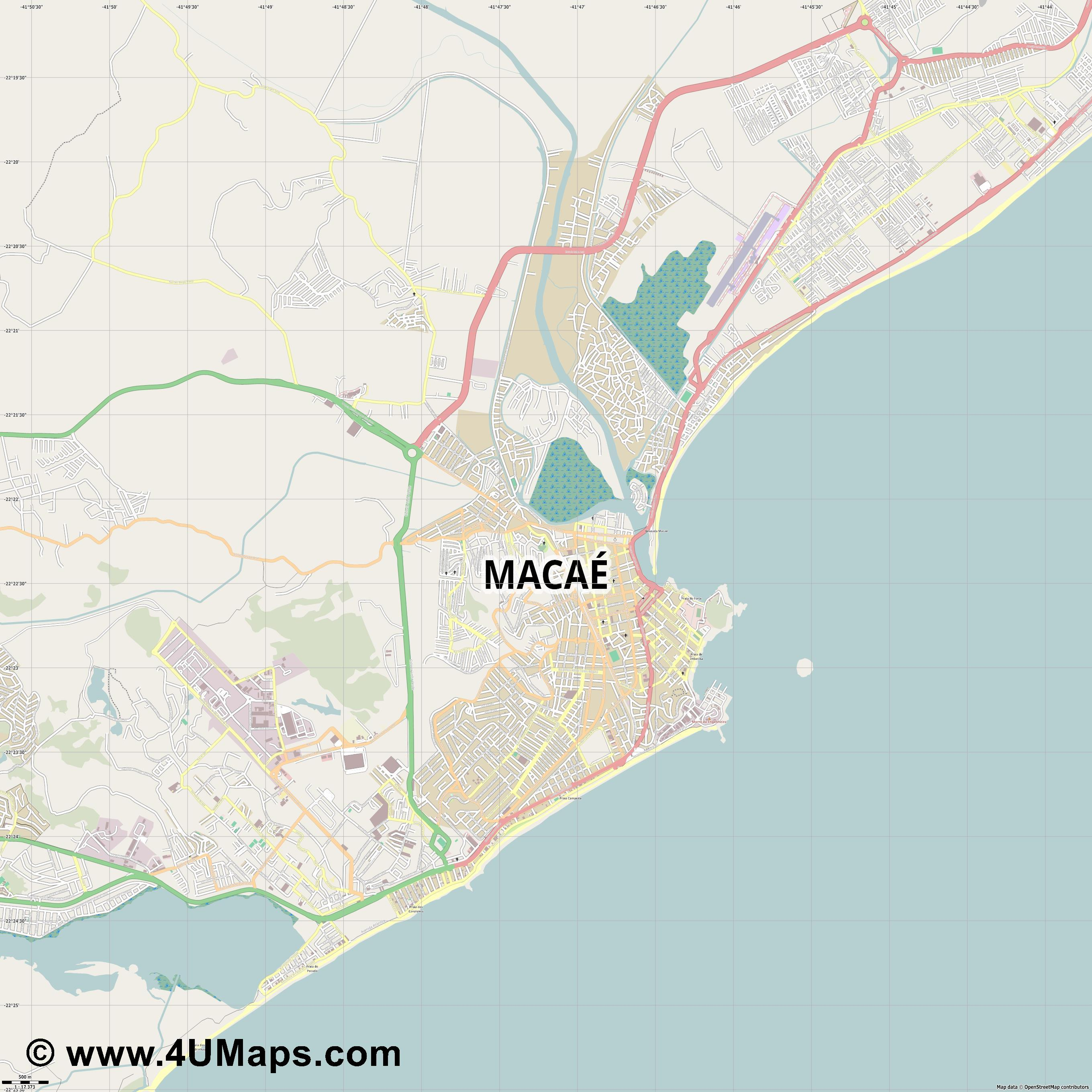 Macaé  jpg ultra high detail preview vector city map