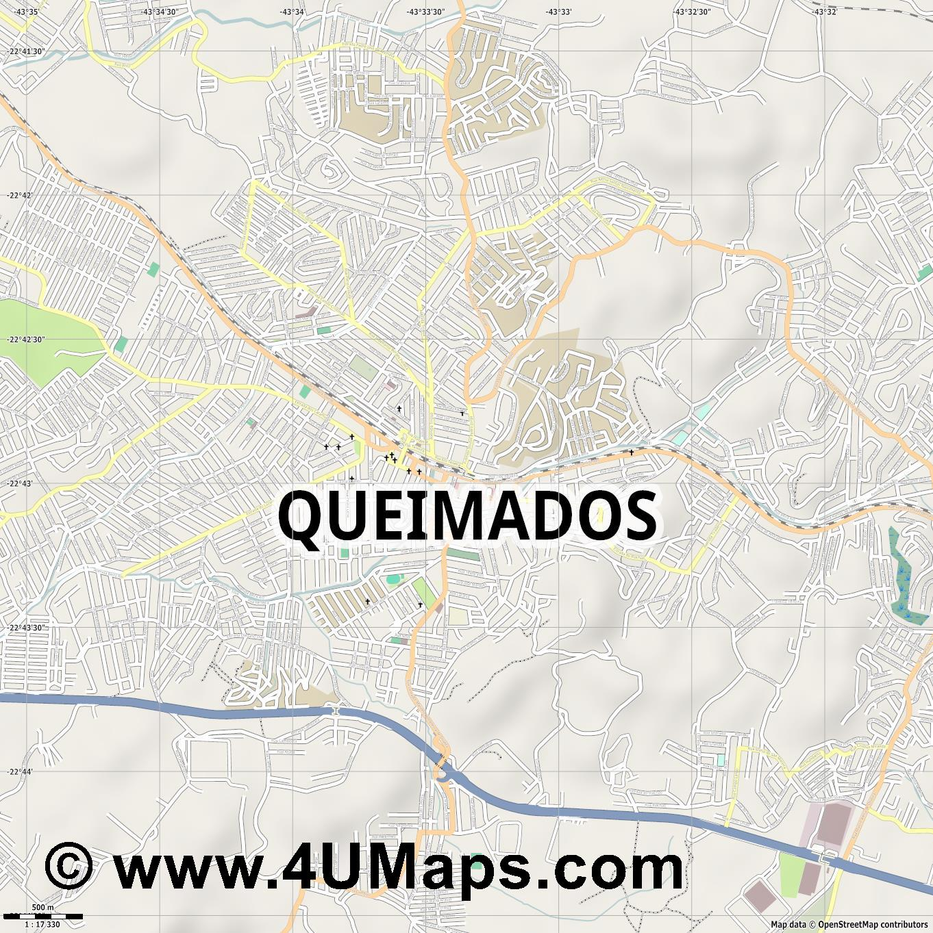 Queimados  jpg ultra high detail preview vector city map