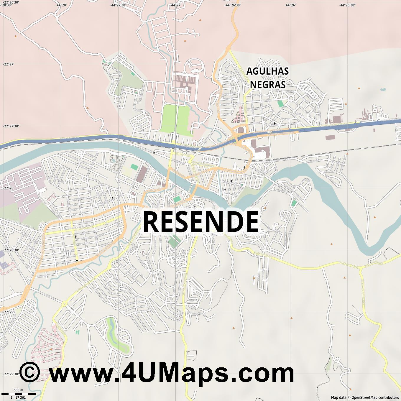 Resende  jpg ultra high detail preview vector city map