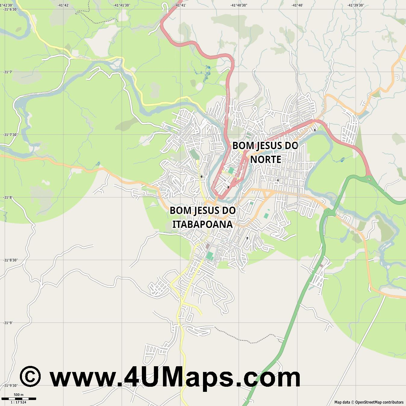 Bom Jesus do Itabapoana  jpg ultra high detail preview vector city map
