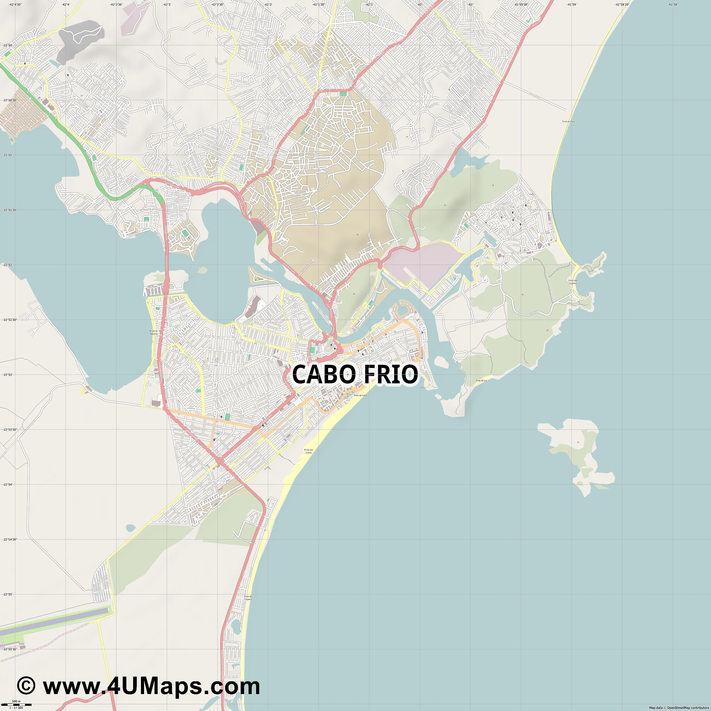 Cabo Frio  jpg ultra high detail preview vector city map