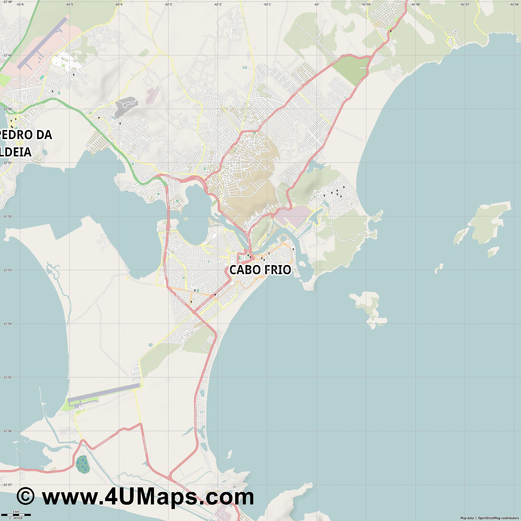 Cabo Frio  jpg high detail, large area preview vector city map