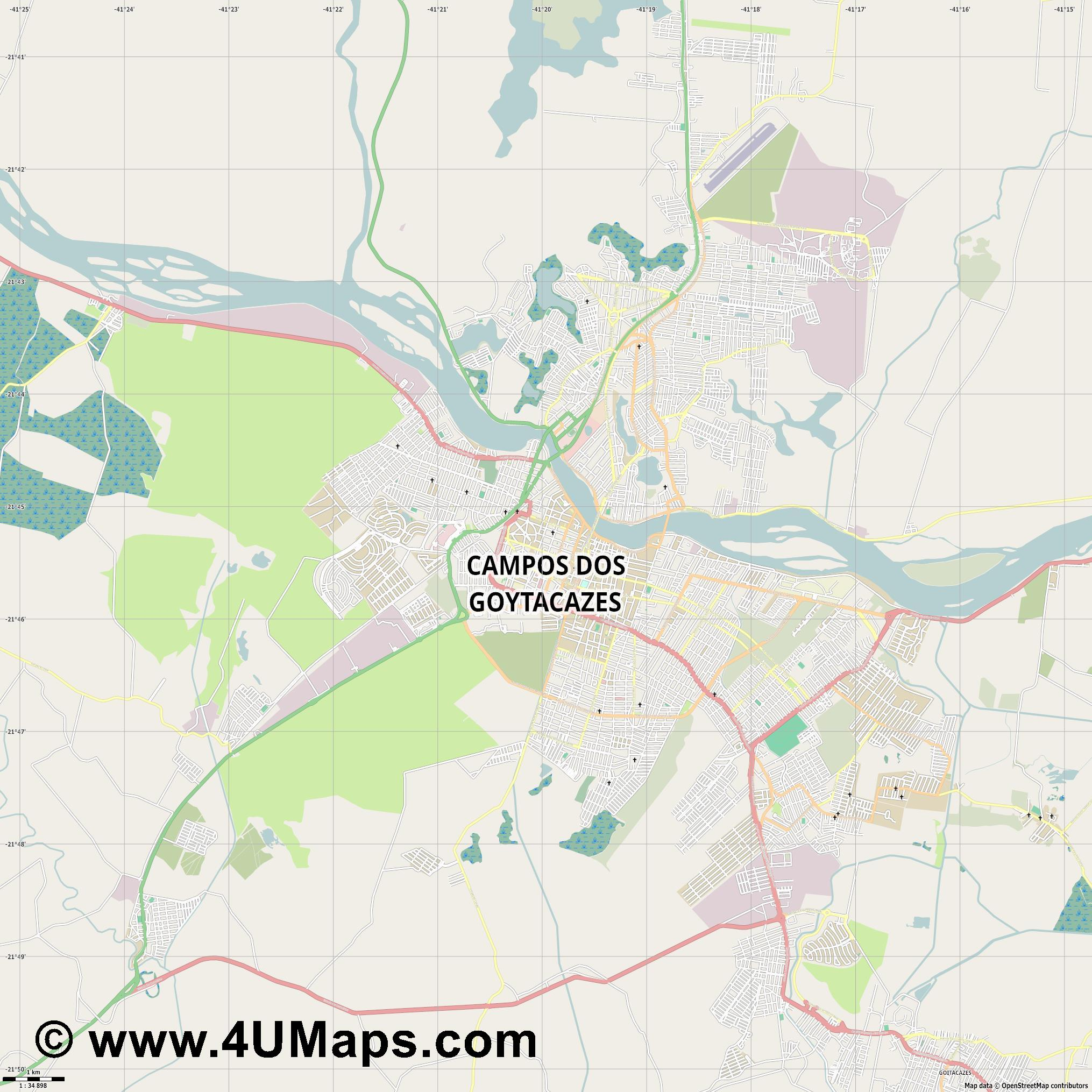 Campos dos Goytacazes  jpg high detail, large area preview vector city map