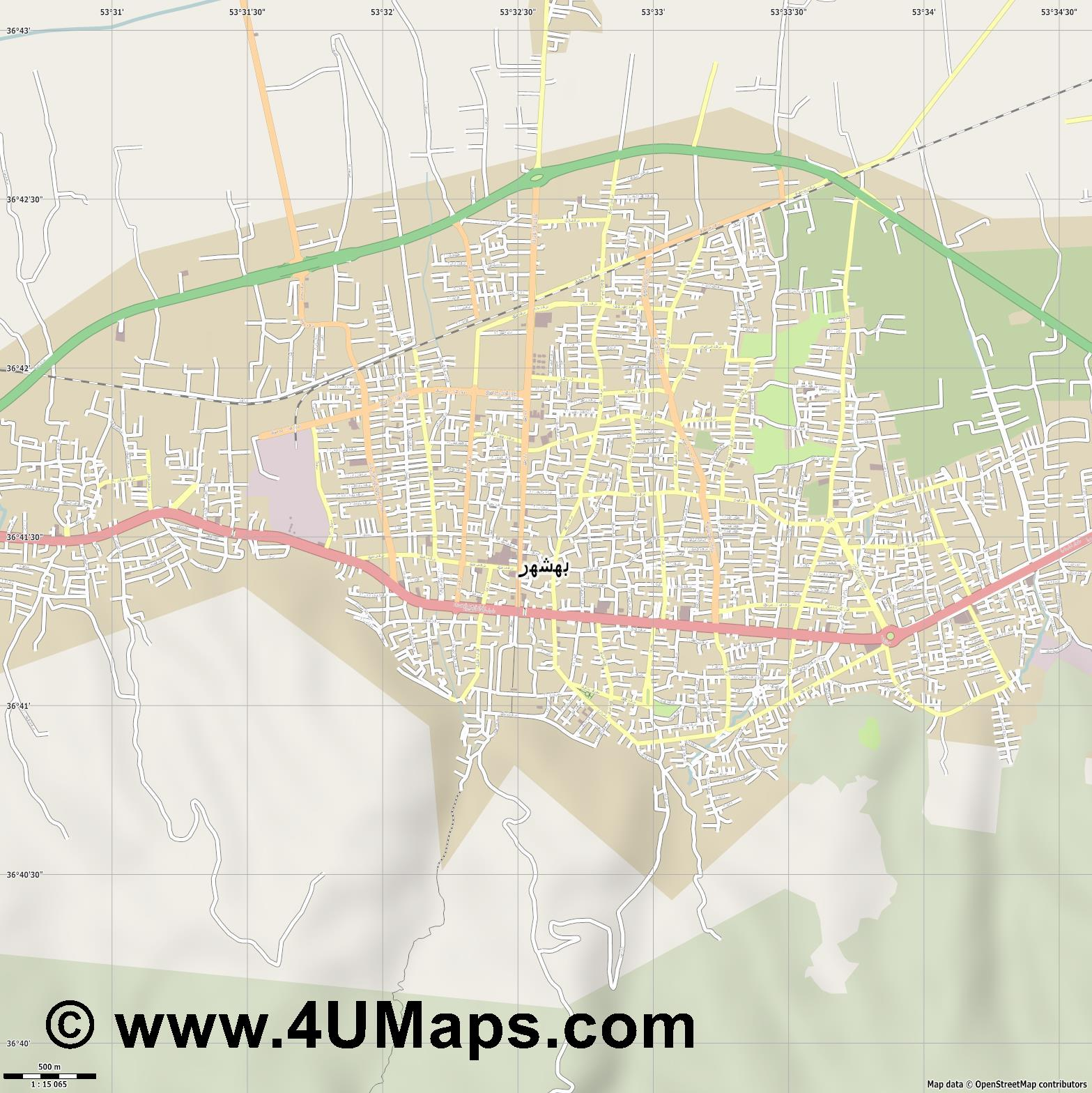 بهشهر Behshahr  jpg ultra high detail preview vector city map