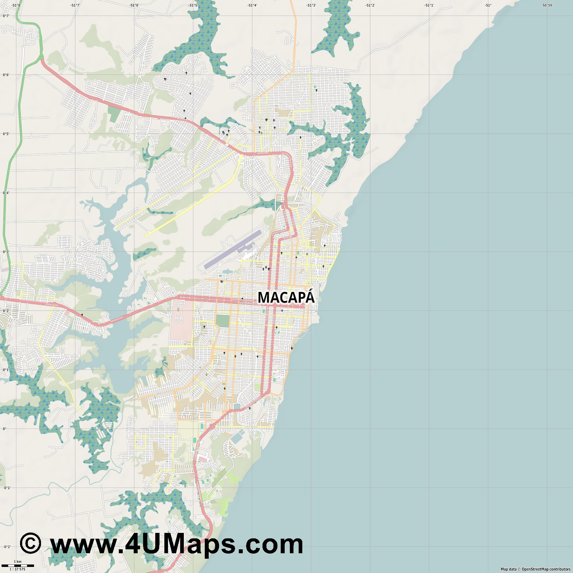 Macapá Macapa  jpg high detail, large area preview vector city map