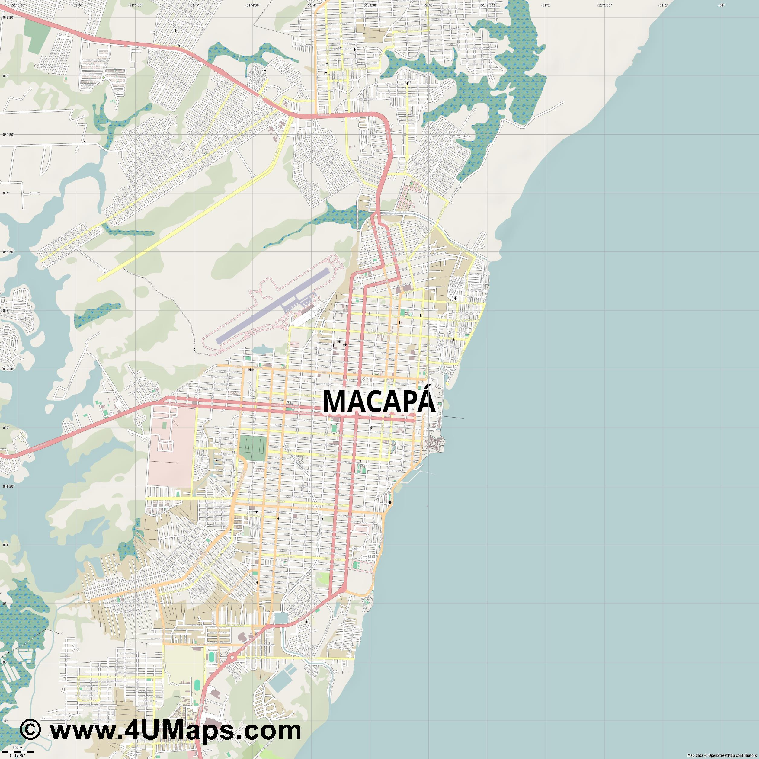 Macapá Macapa  jpg ultra high detail preview vector city map