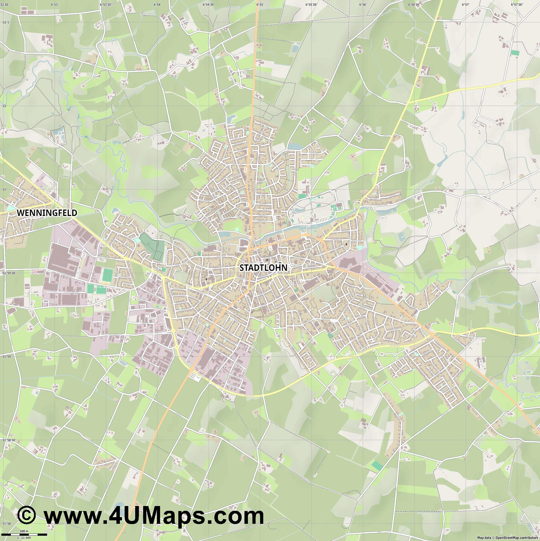 Stadtlohn  jpg ultra high detail preview vector city map