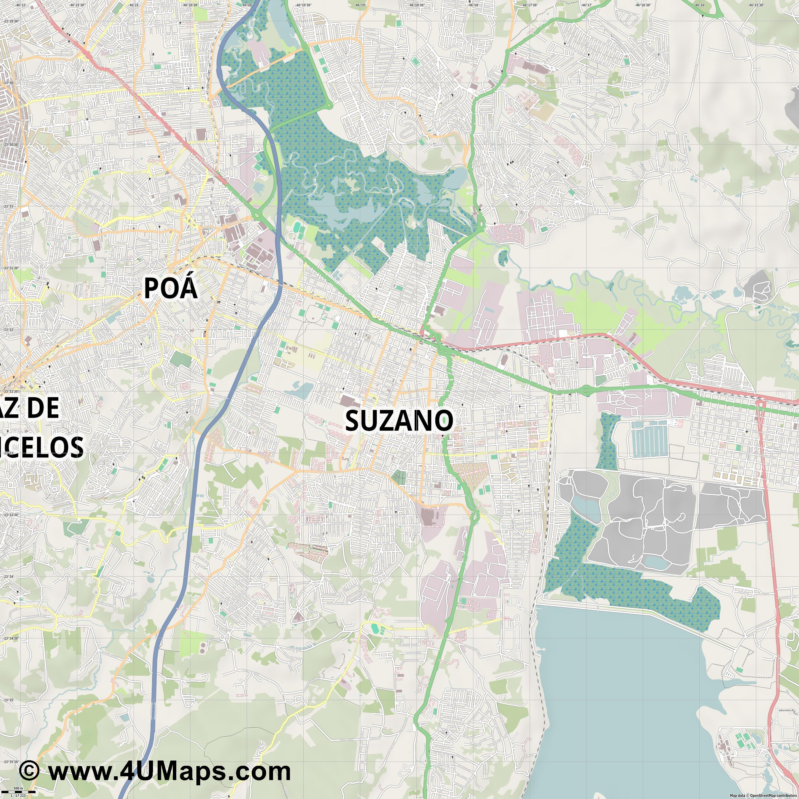 Suzano  jpg ultra high detail preview vector city map