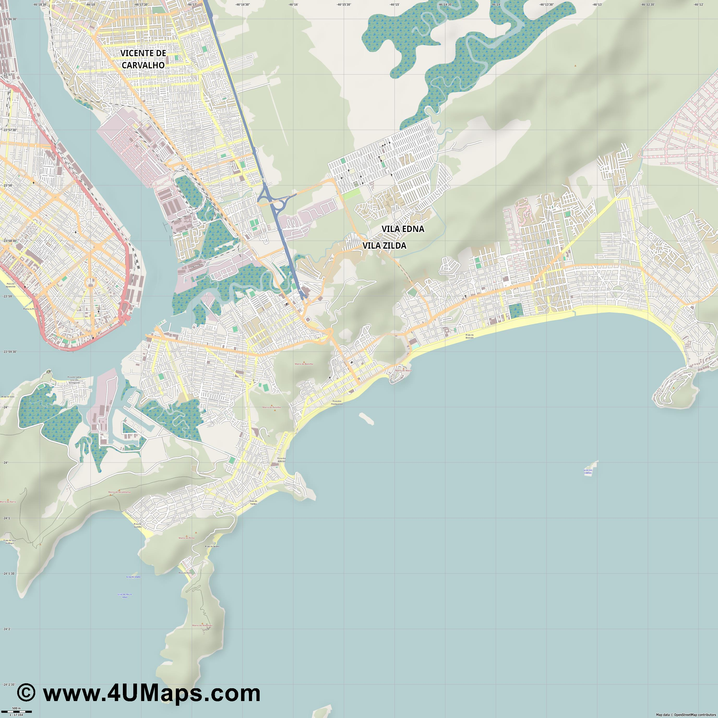 Guarujá  jpg ultra high detail preview vector city map