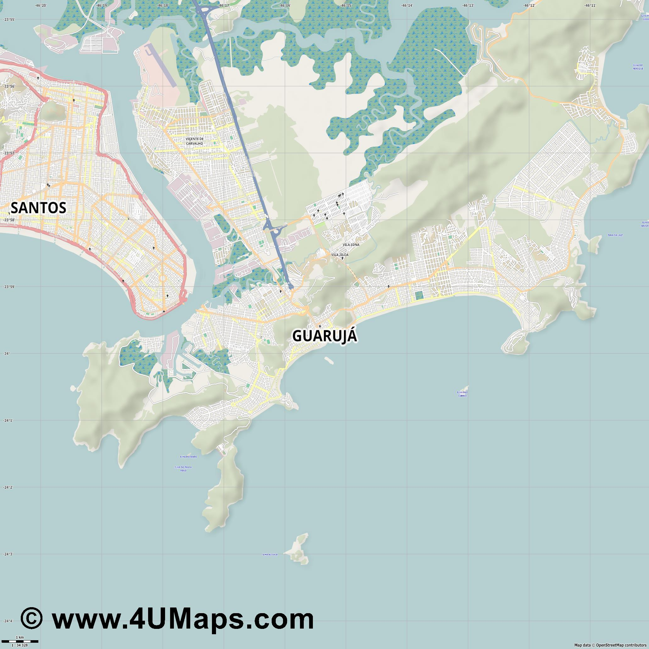 Guarujá  jpg high detail, large area preview vector city map