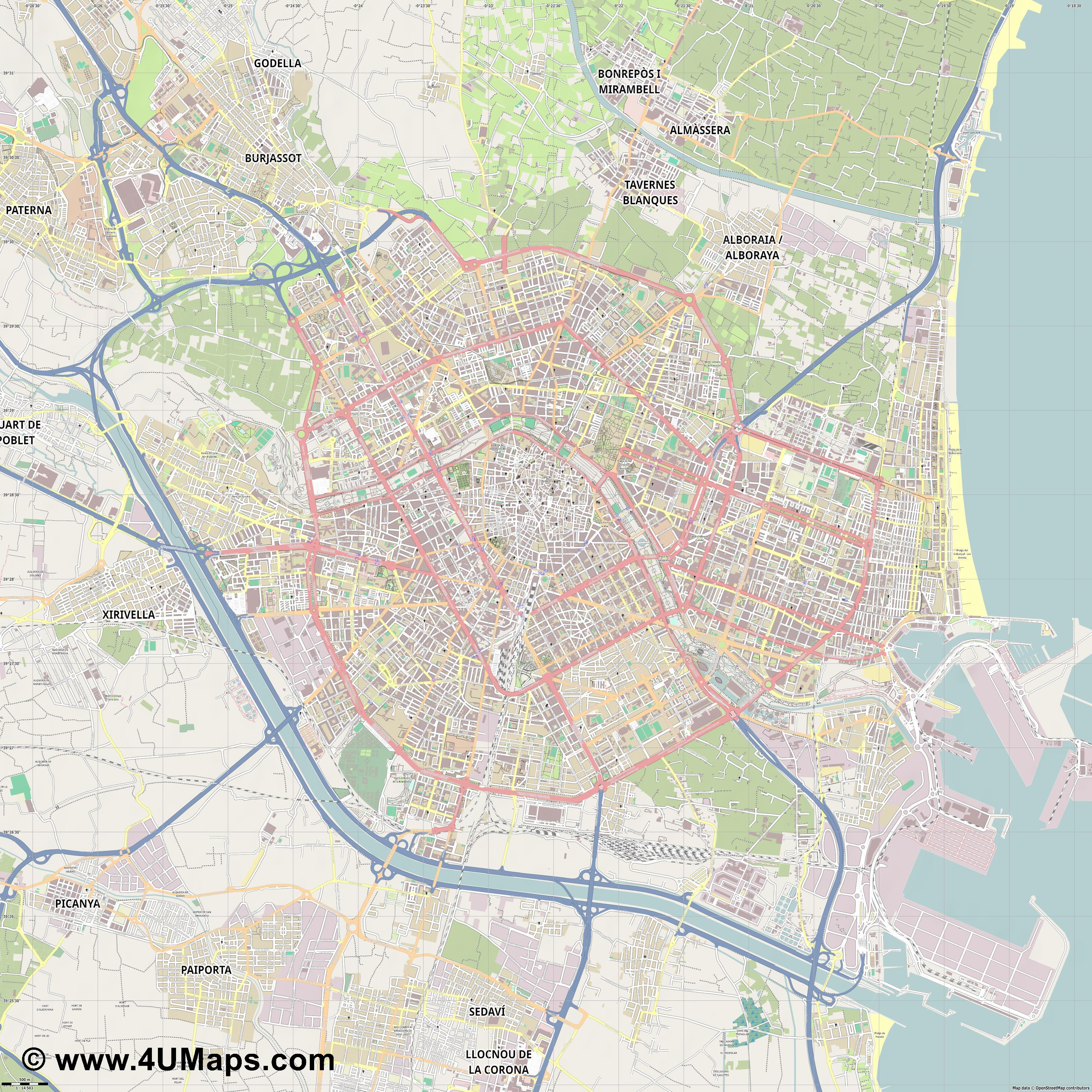 València Valencia Valence  jpg ultra high detail preview vector city map