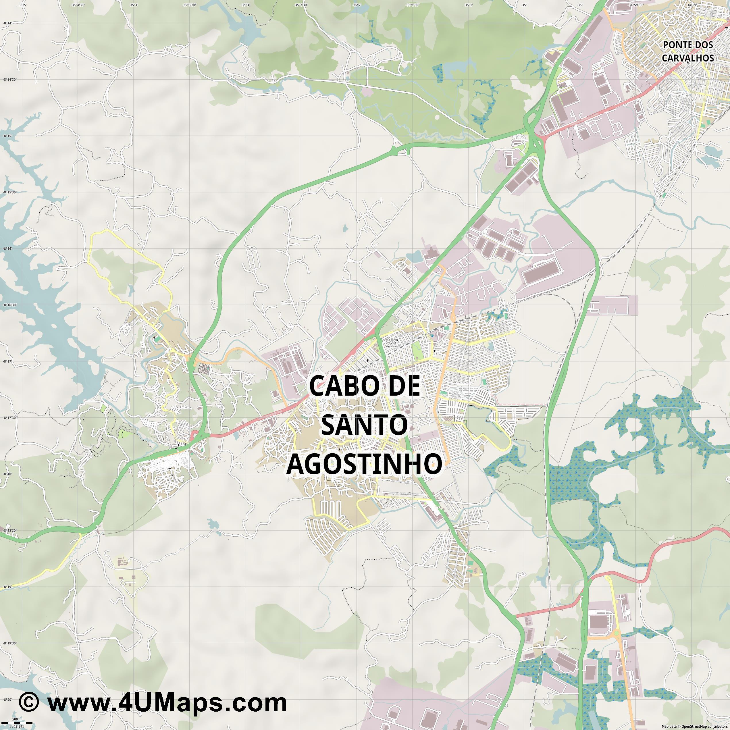 Svg Scalable Vector City Map Cabo De Santo Agostinho - Cabo de santo agostinho map