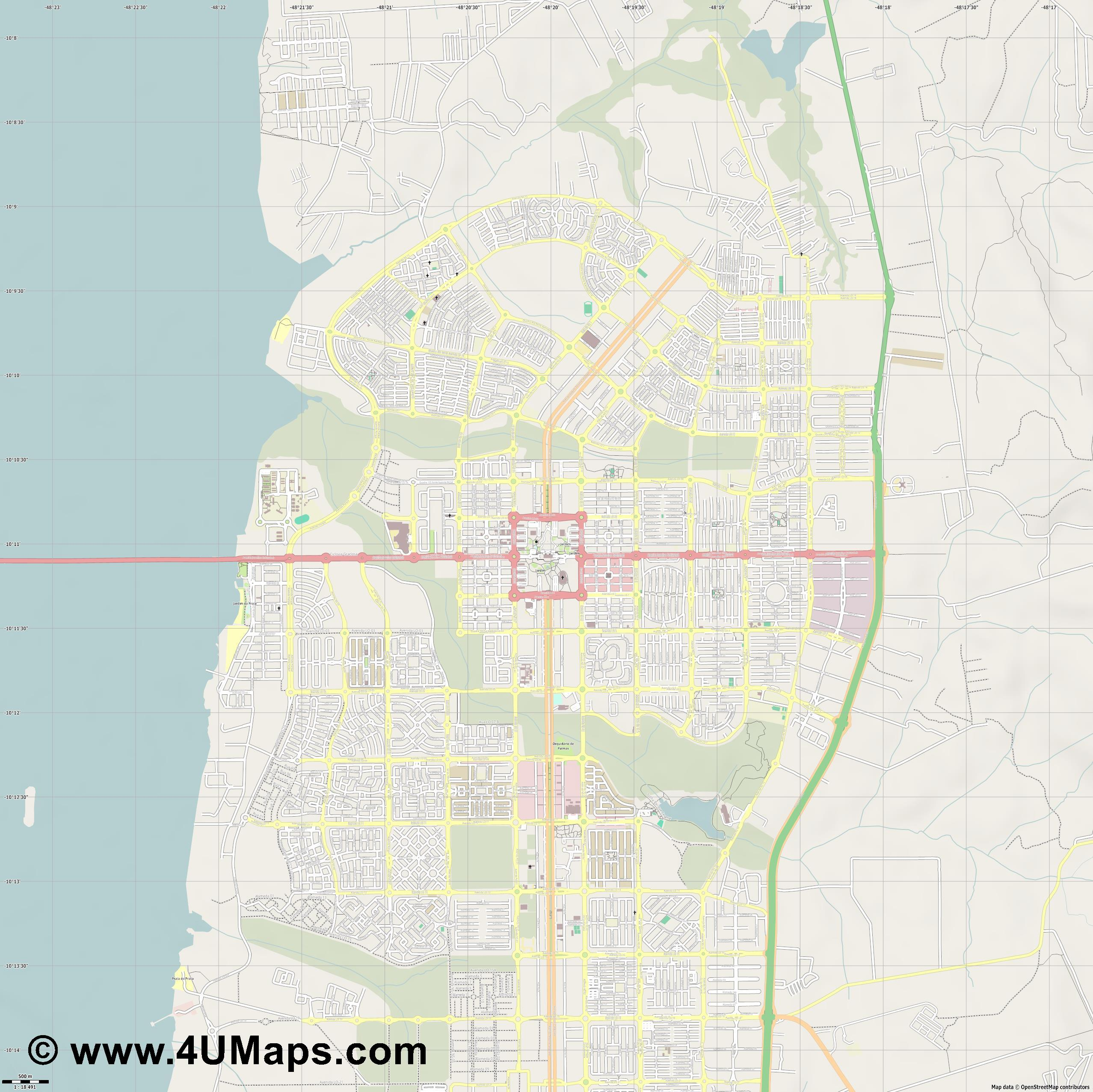 Palmas  jpg ultra high detail preview vector city map