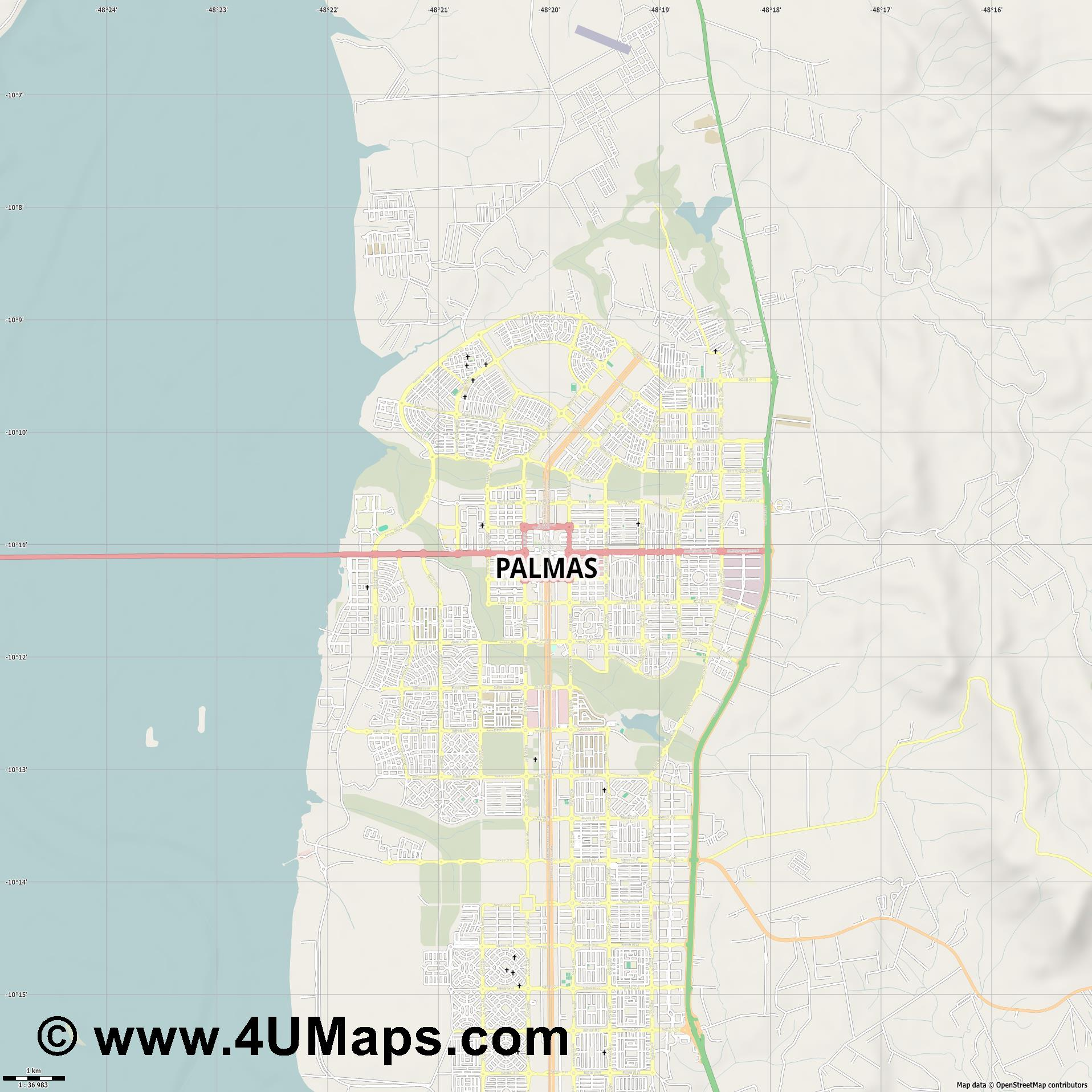 Palmas  jpg high detail, large area preview vector city map