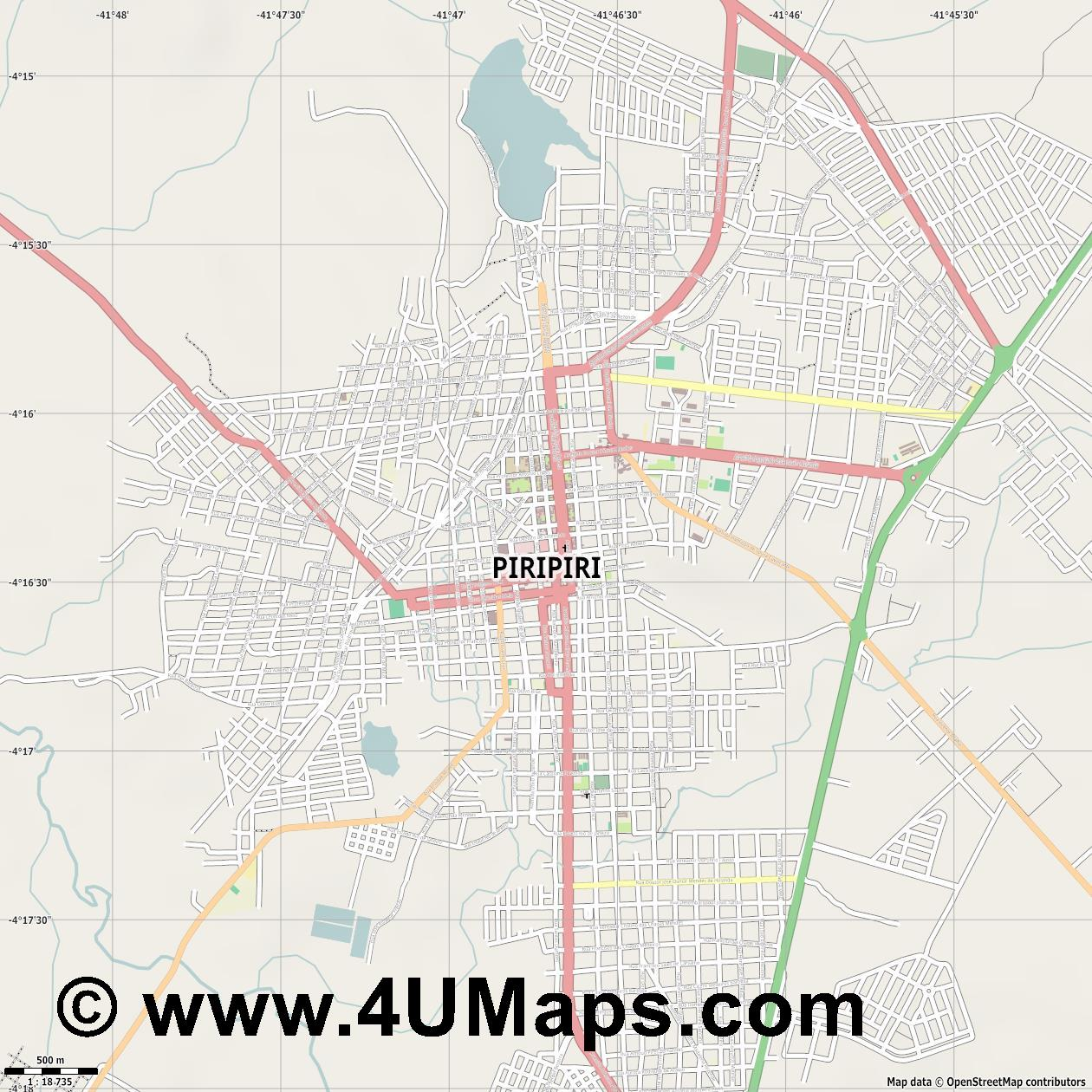 Piripiri  jpg ultra high detail preview vector city map