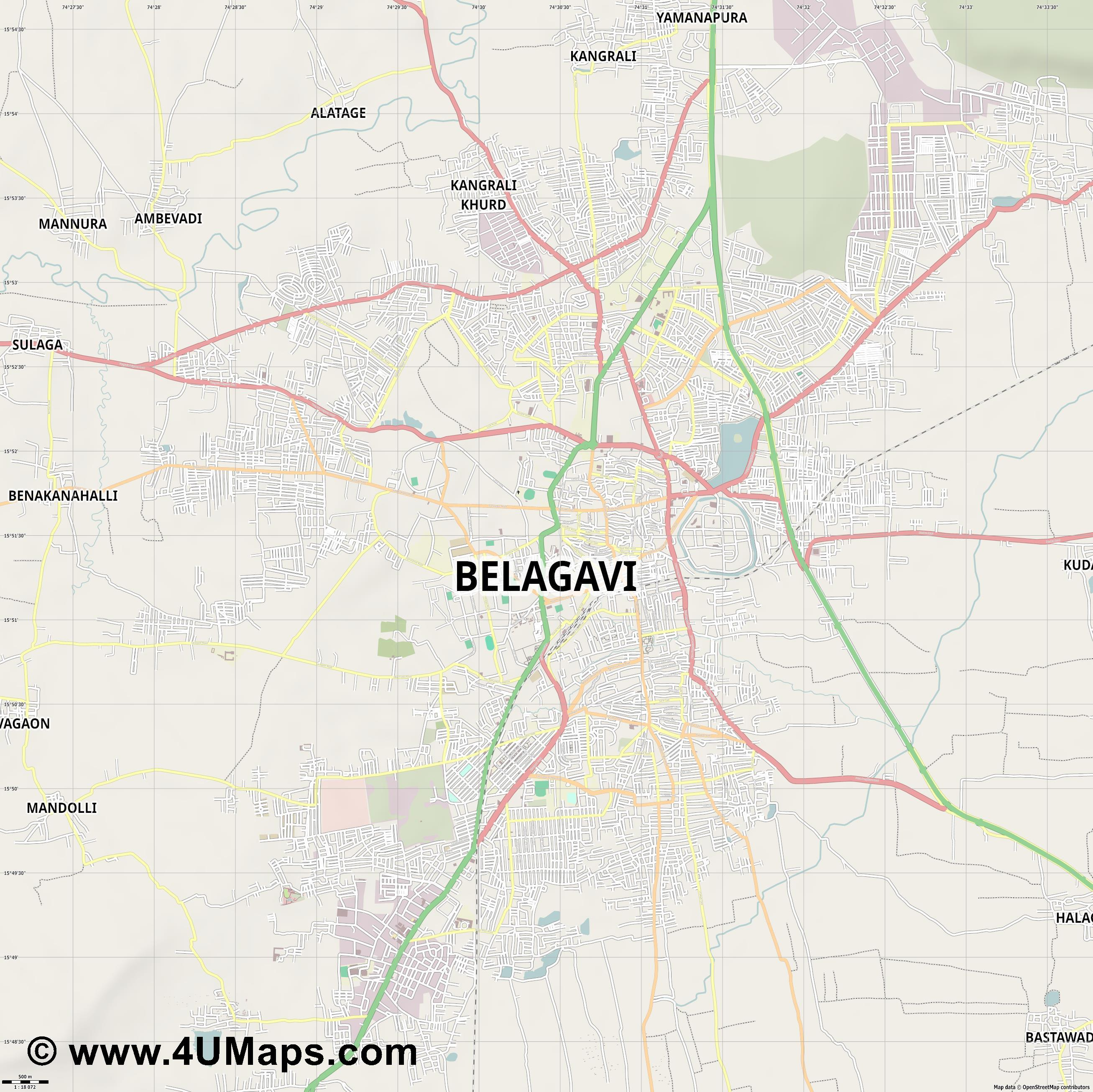 Belgaum  jpg ultra high detail preview vector city map