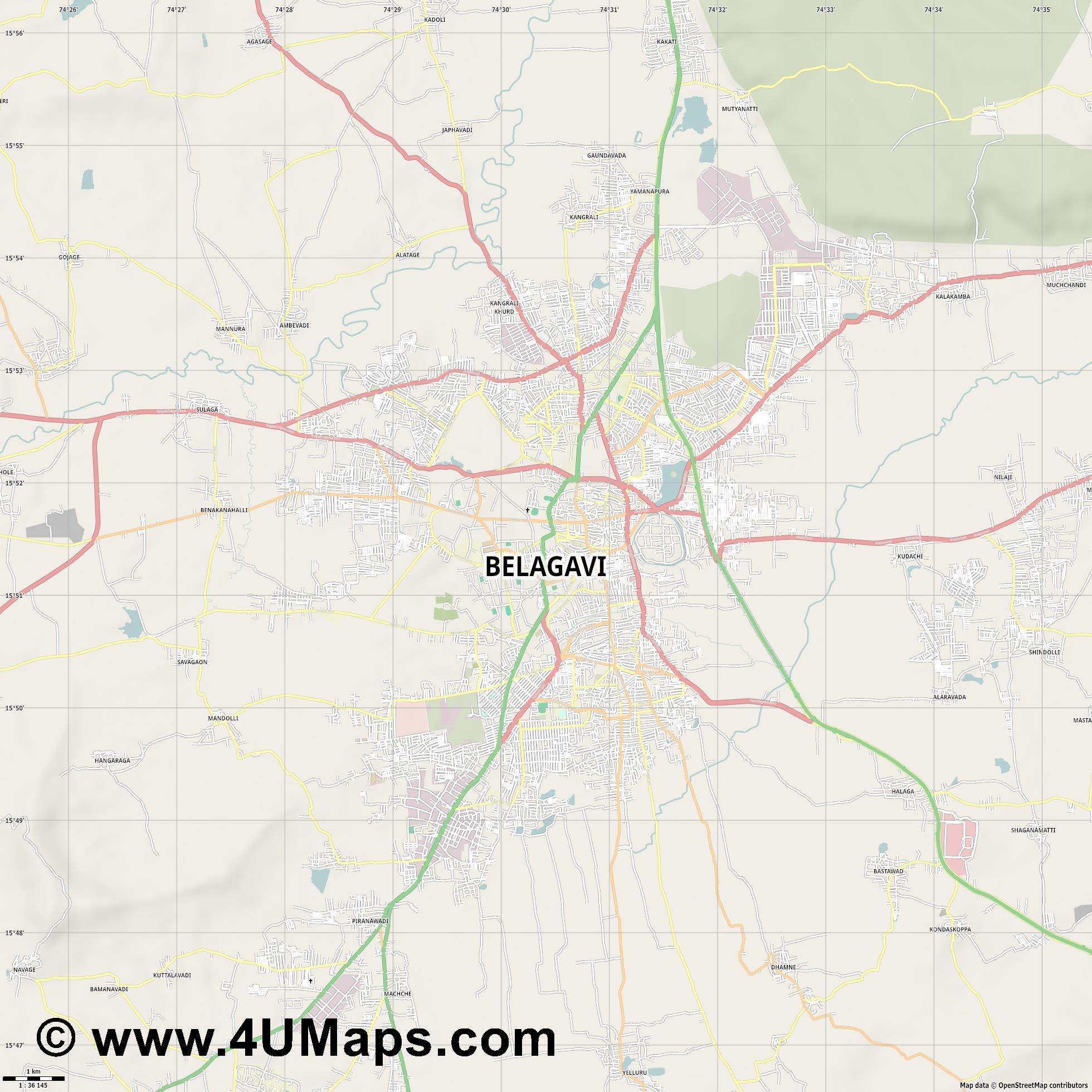 Belgaum  jpg high detail, large area preview vector city map