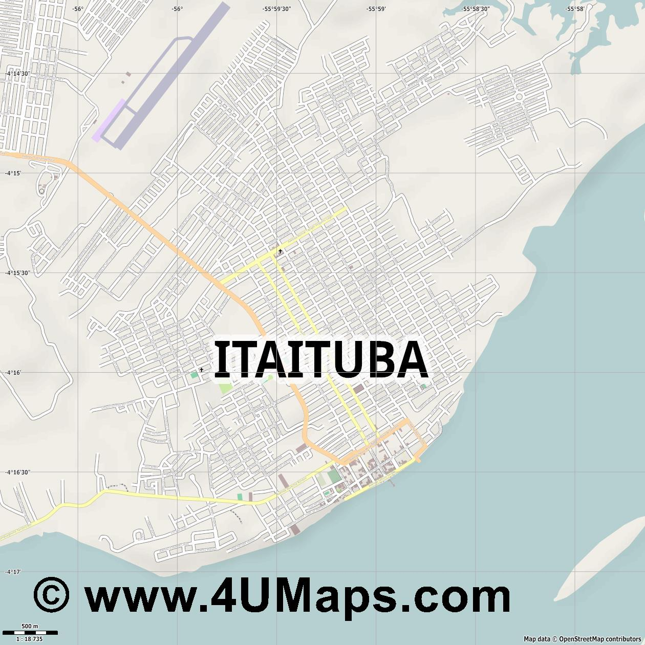 Itaituba  jpg ultra high detail preview vector city map