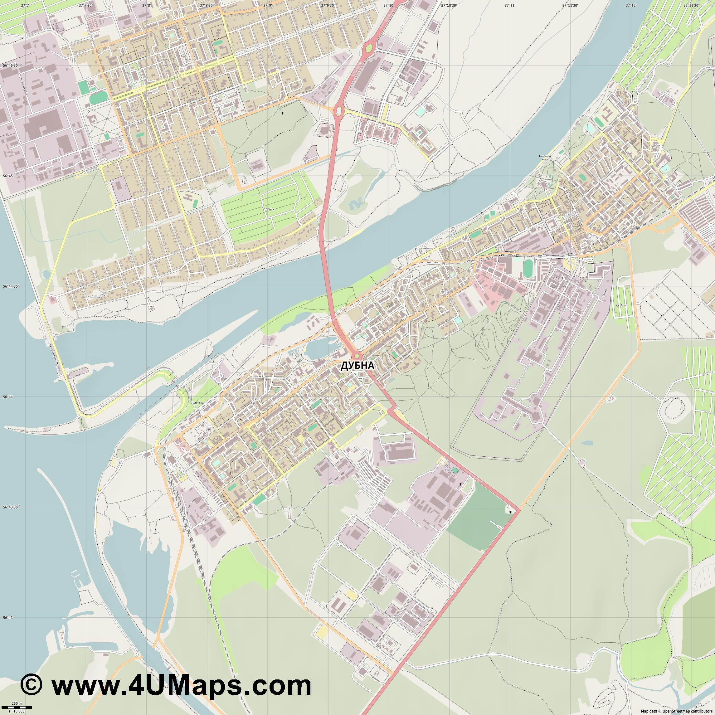 Дубна Dubna  jpg ultra high detail preview vector city map