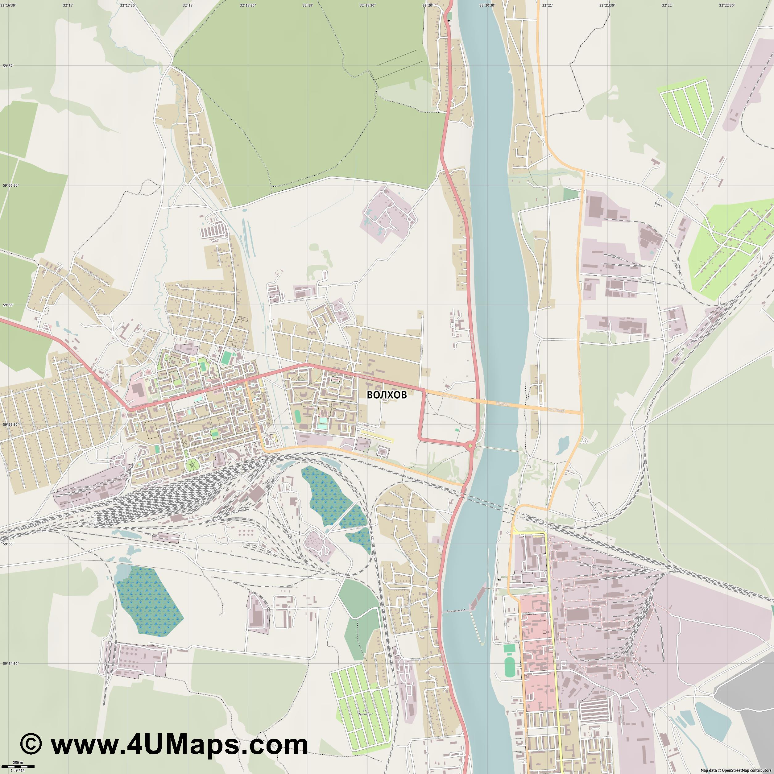 Волхов Volkhov Wolchow  jpg ultra high detail preview vector city map