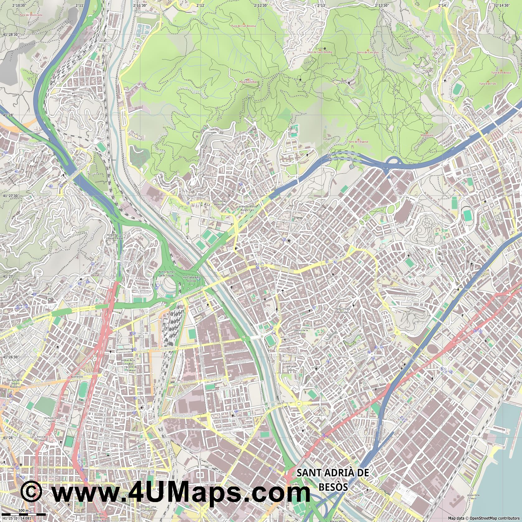 Santa Coloma de Gramenet  jpg ultra high detail preview vector city map