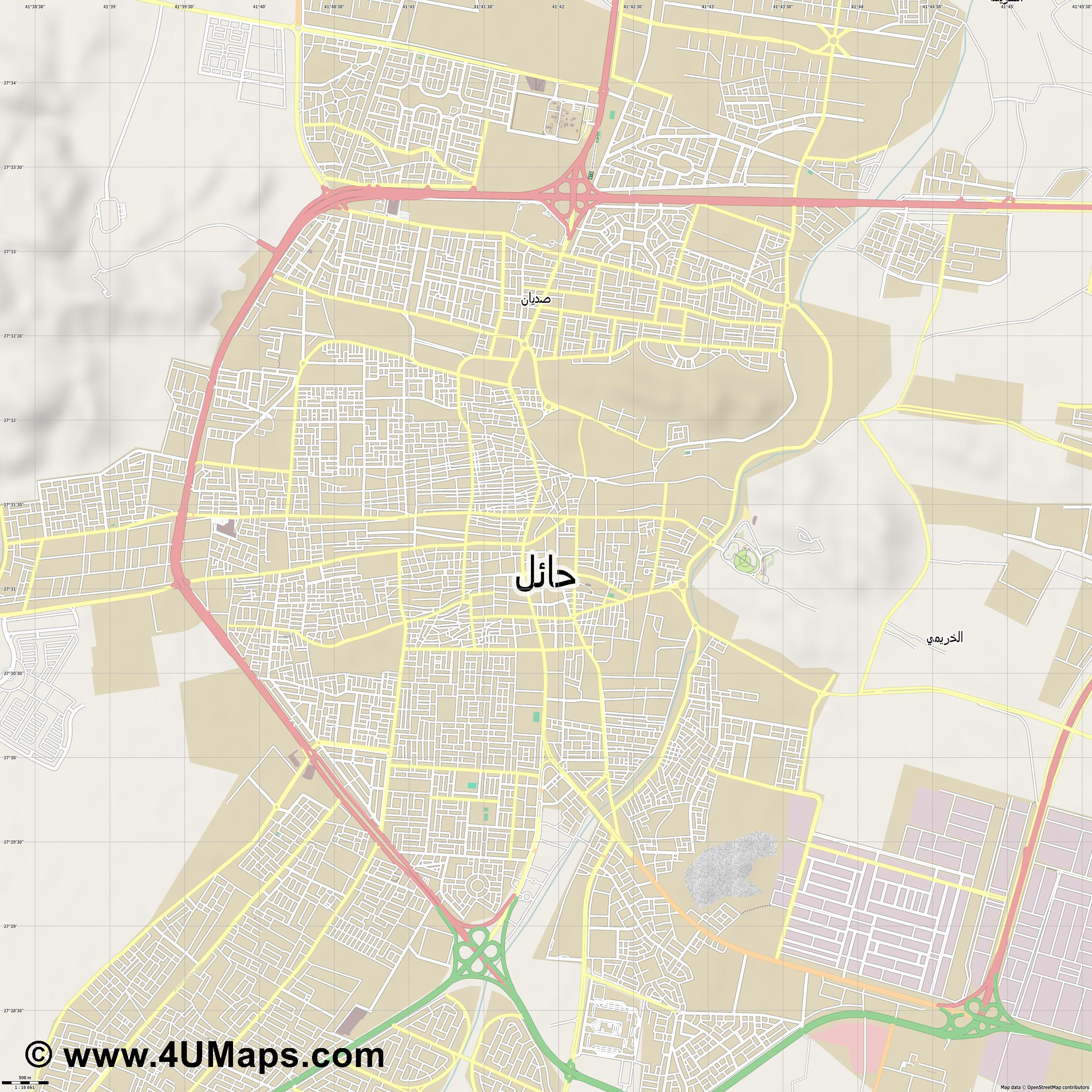 حائل Hail  jpg ultra high detail preview vector city map
