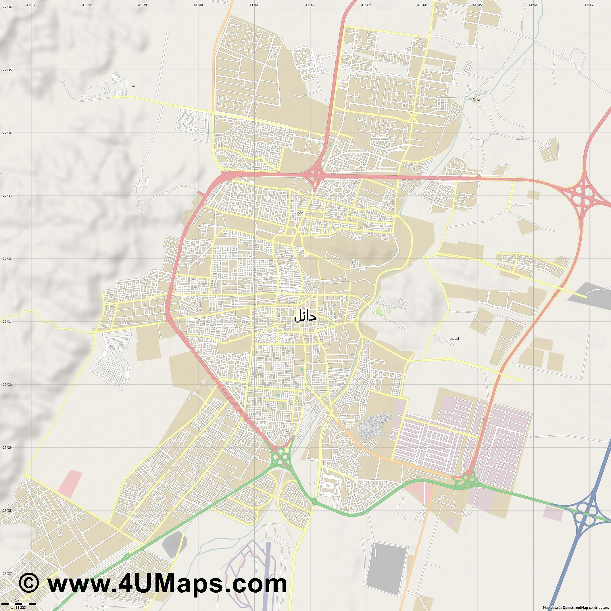 حائل Hail  jpg high detail, large area preview vector city map